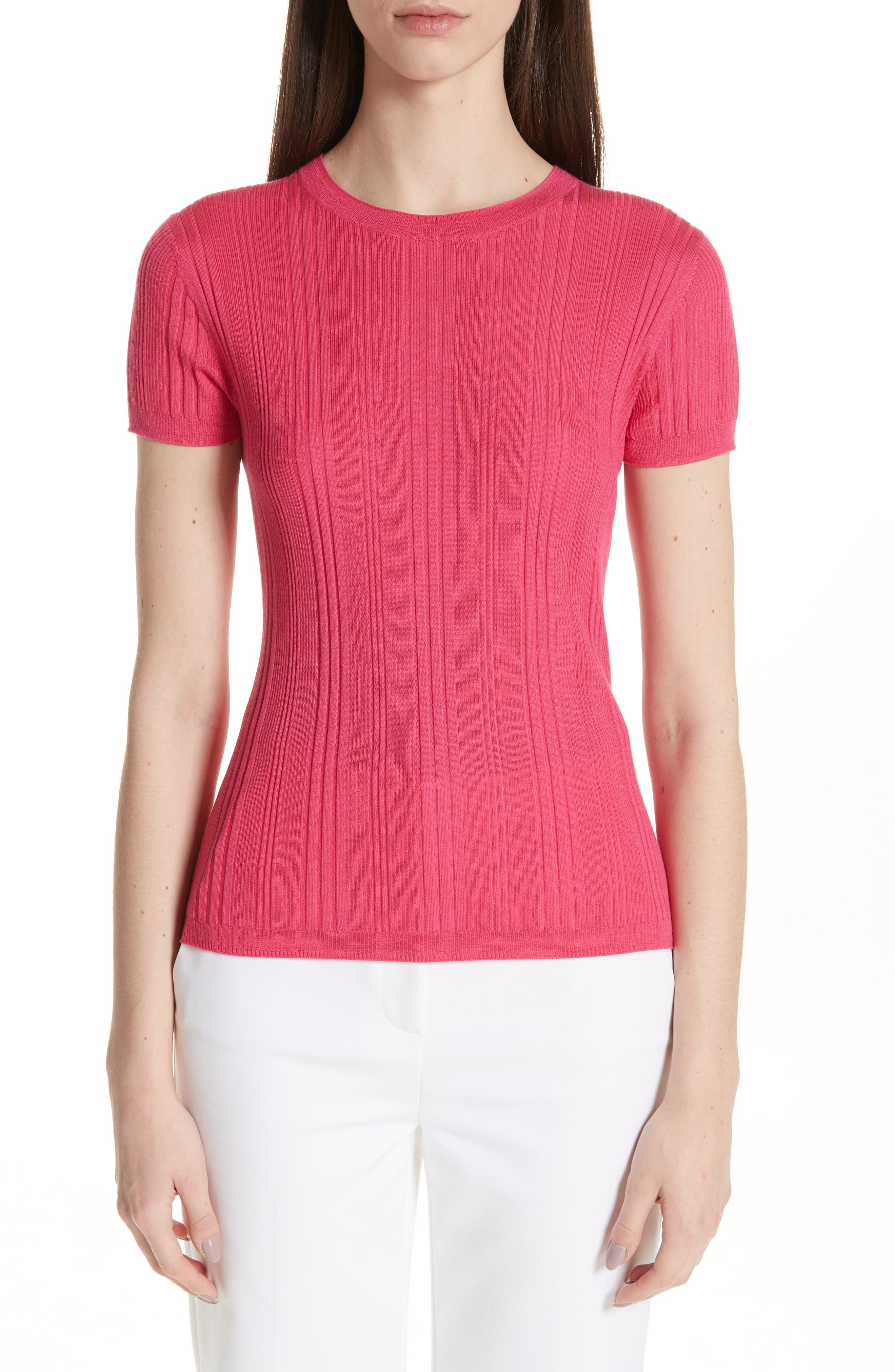 ST. JOHN COLLECTION, Superfine Variegated Rib Sweater, Main thumbnail 1, color, FLAMINGO