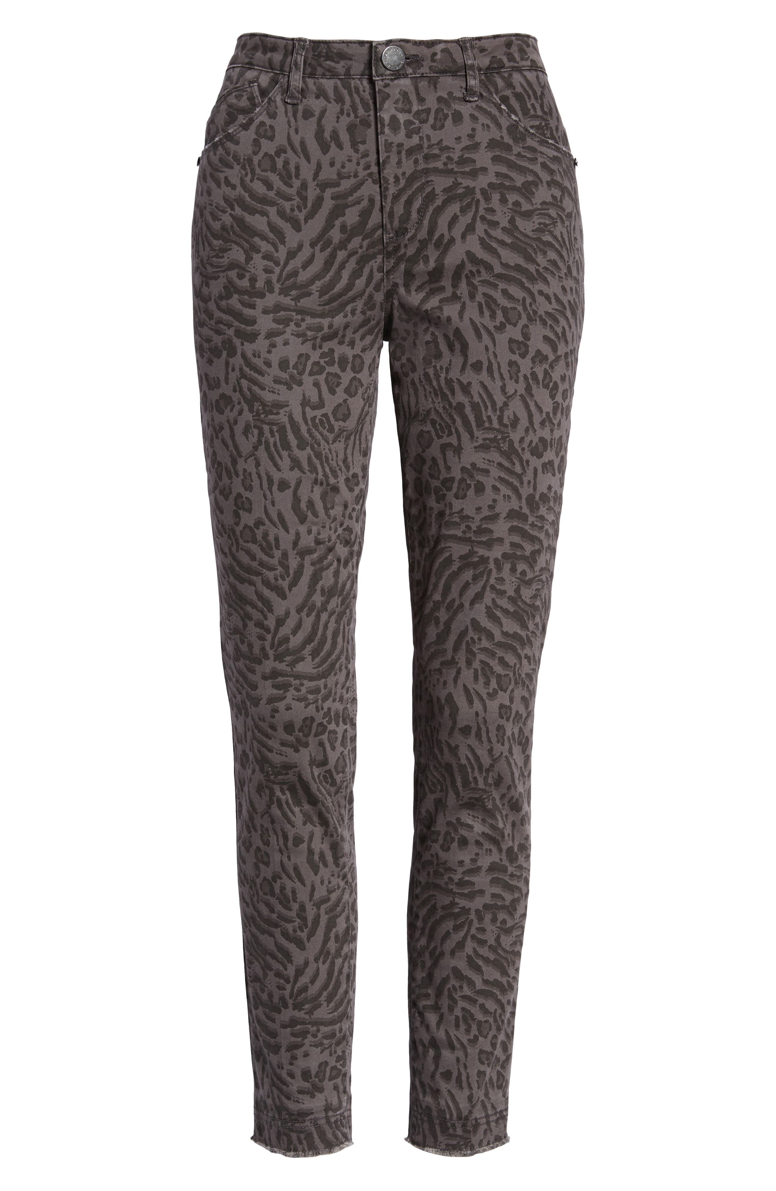 WIT & WISDOM, Ab-Solution Leopard Print High Waist Skinny Jeans, Alternate thumbnail 7, color, CHARCOAL