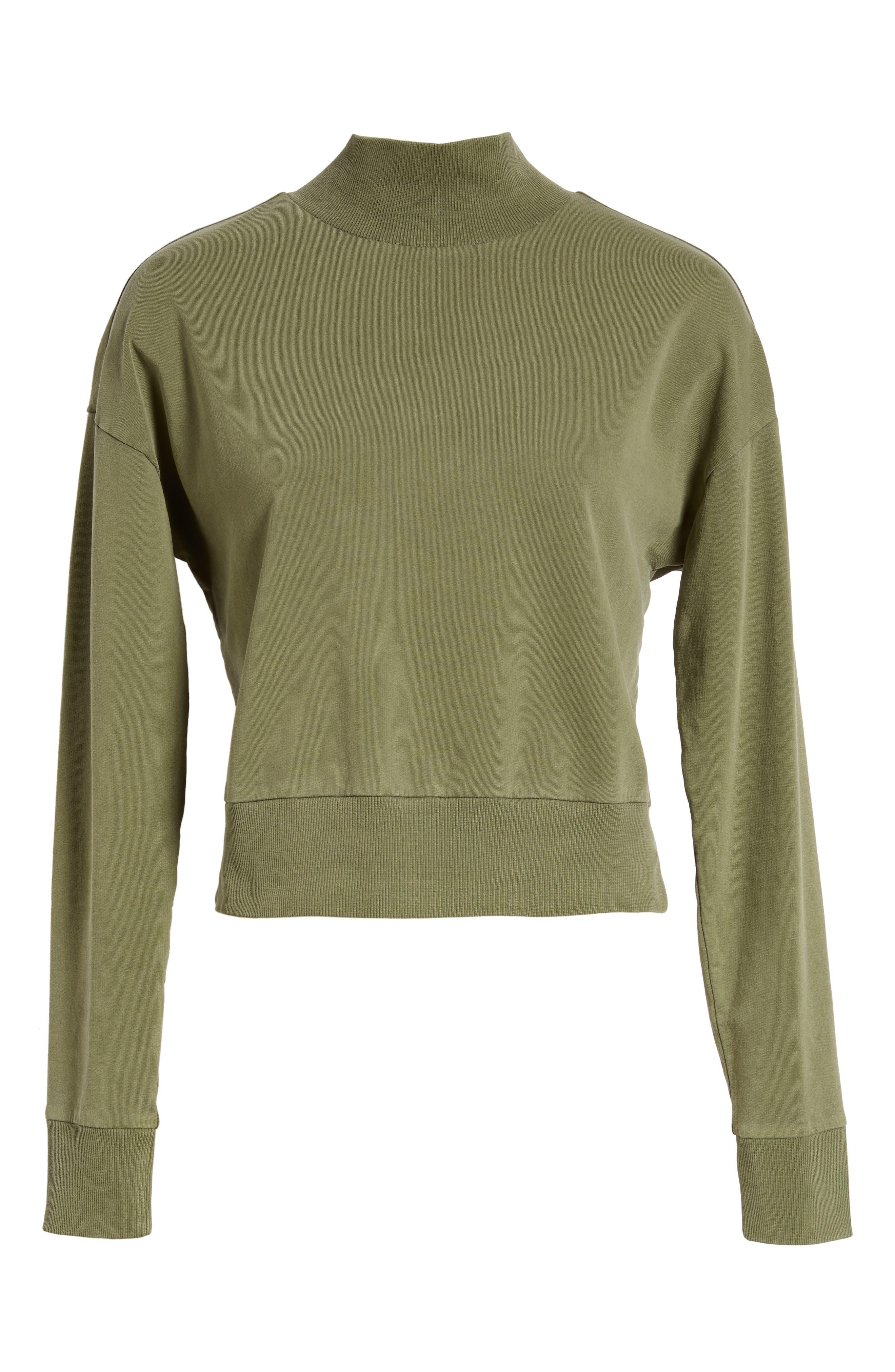 BP., Washed Mock Neck Sweatshirt, Alternate thumbnail 7, color, OLIVE BURNT