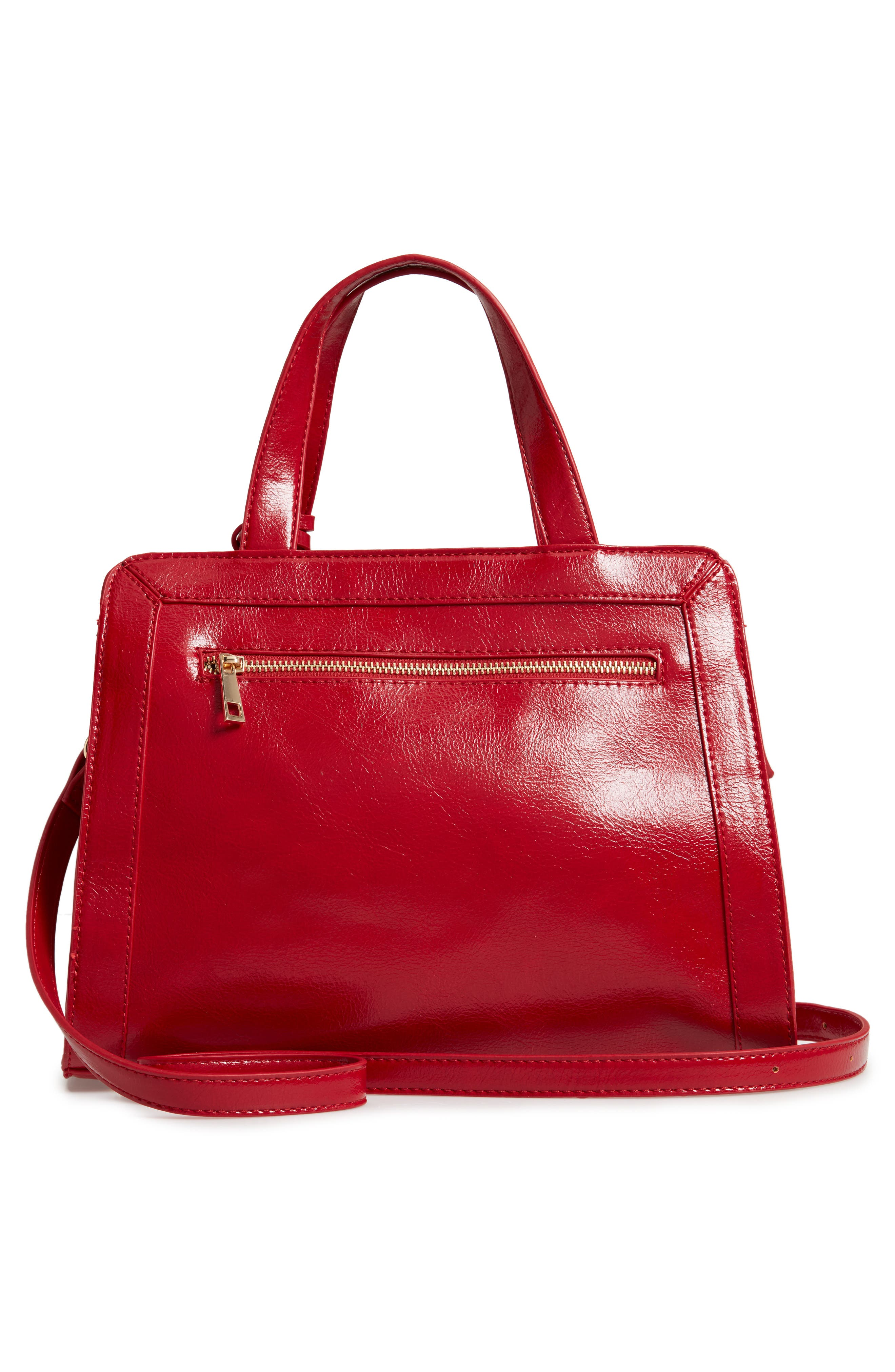 SOLE SOCIETY, Aisln Faux Leather Satchel, Alternate thumbnail 3, color, RED