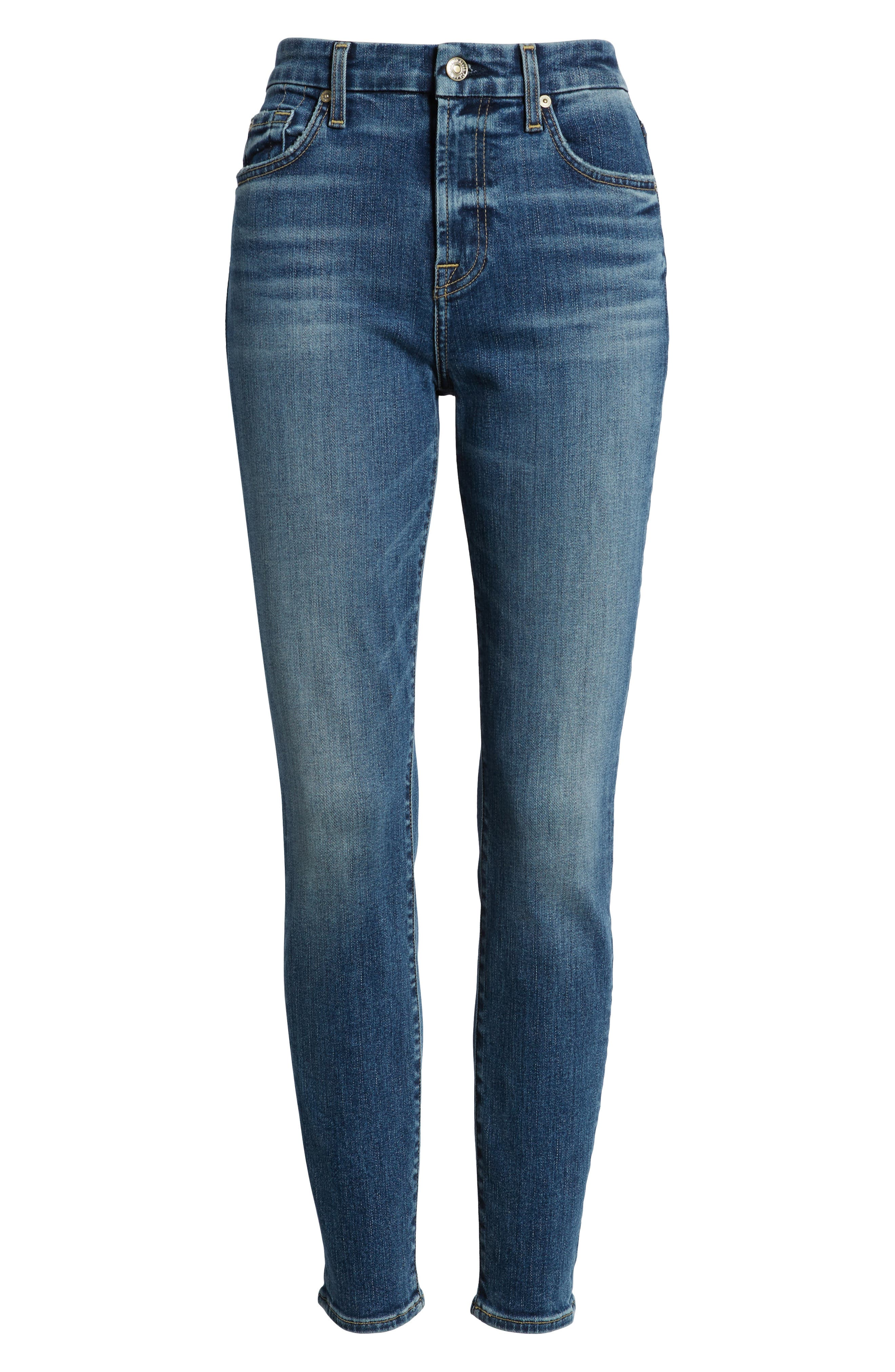 7 FOR ALL MANKIND<SUP>®</SUP>, The High Waist Ankle Skinny Jeans, Alternate thumbnail 7, color, 400