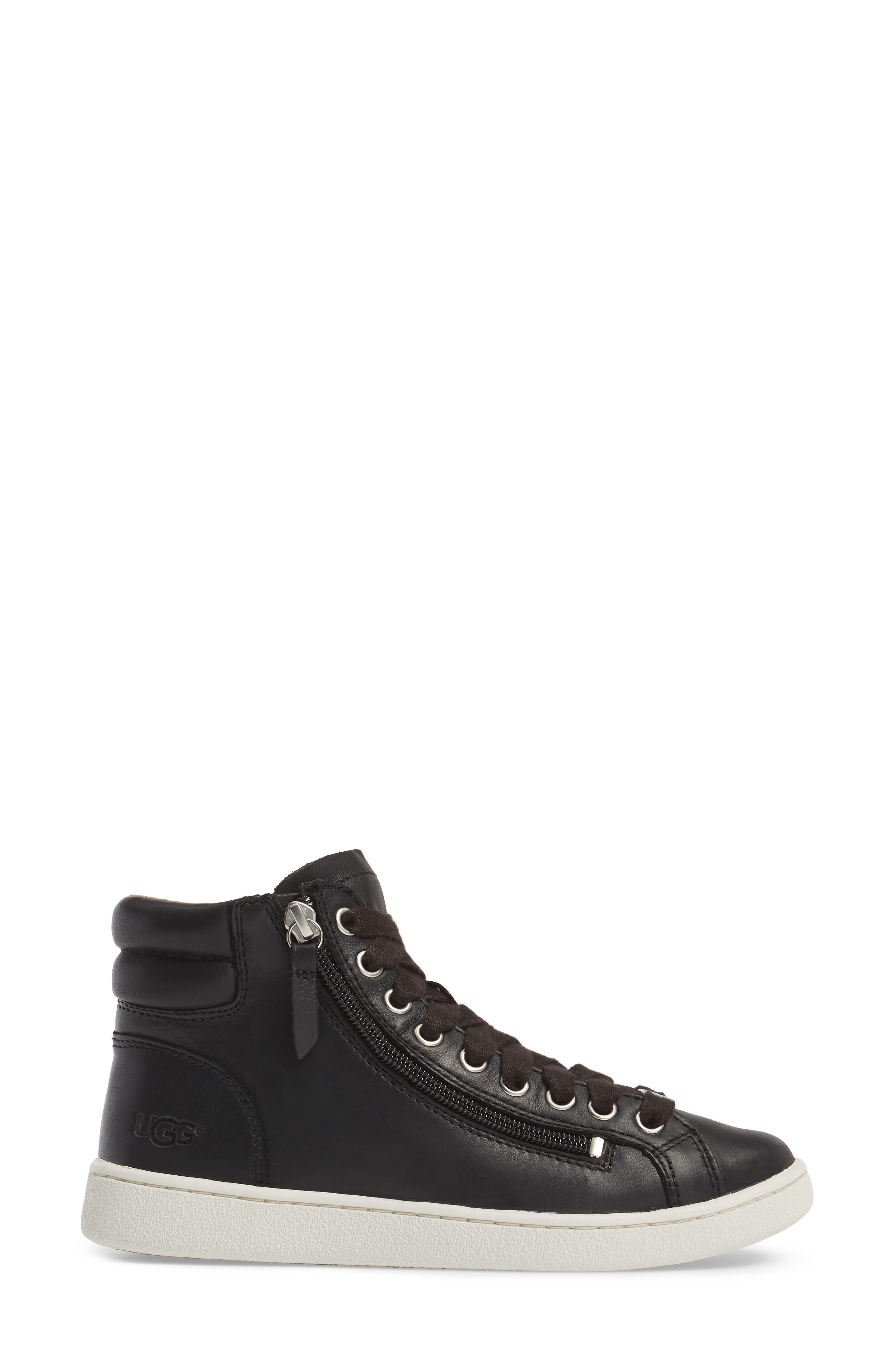 UGG<SUP>®</SUP>, UGG Olive High Top Sneaker, Alternate thumbnail 3, color, BLACK LEATHER