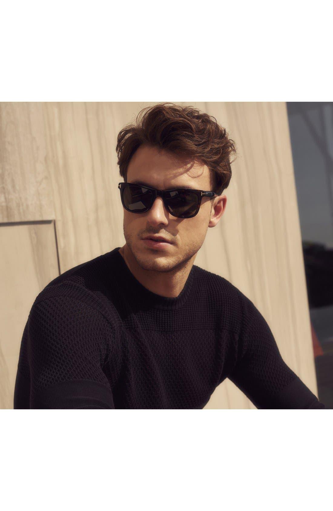 TOM FORD, 'Leo' 52mm Polarized Sunglasses, Alternate thumbnail 2, color, SHINY CLASSIC HAVANA