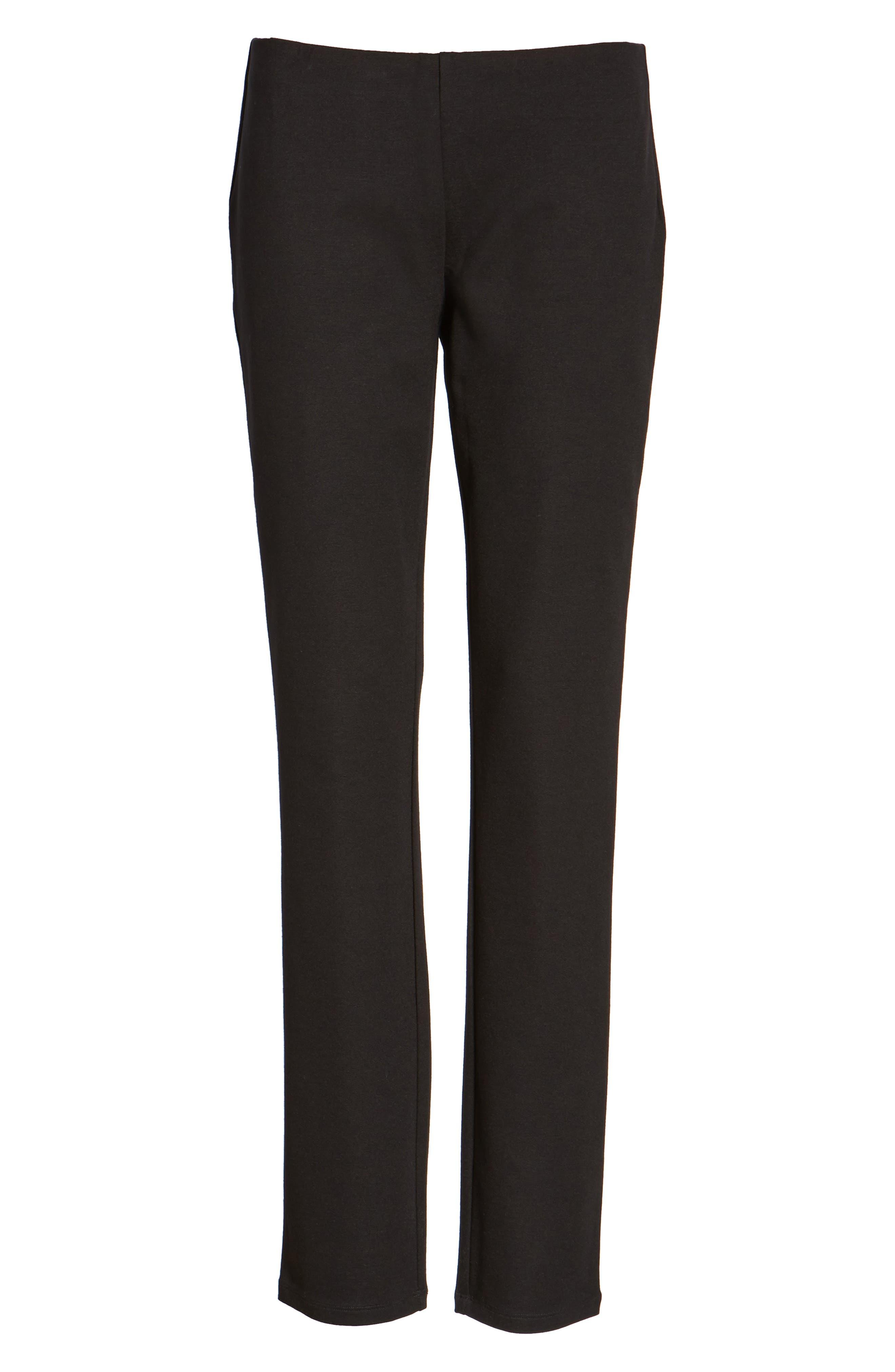 EILEEN FISHER Slim Ponte Knit Pants, Main, color, BLACK