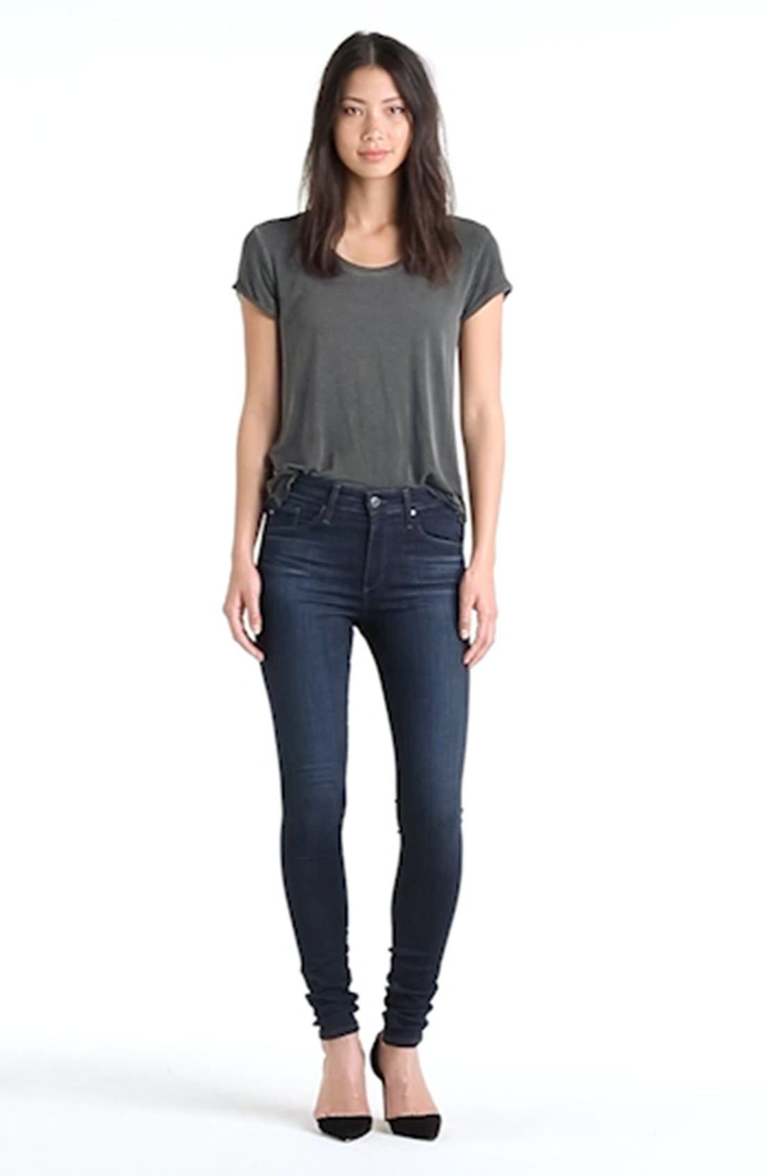 AG, The Farrah High Waist Skinny Jeans, Alternate thumbnail 2, color, BROOKS