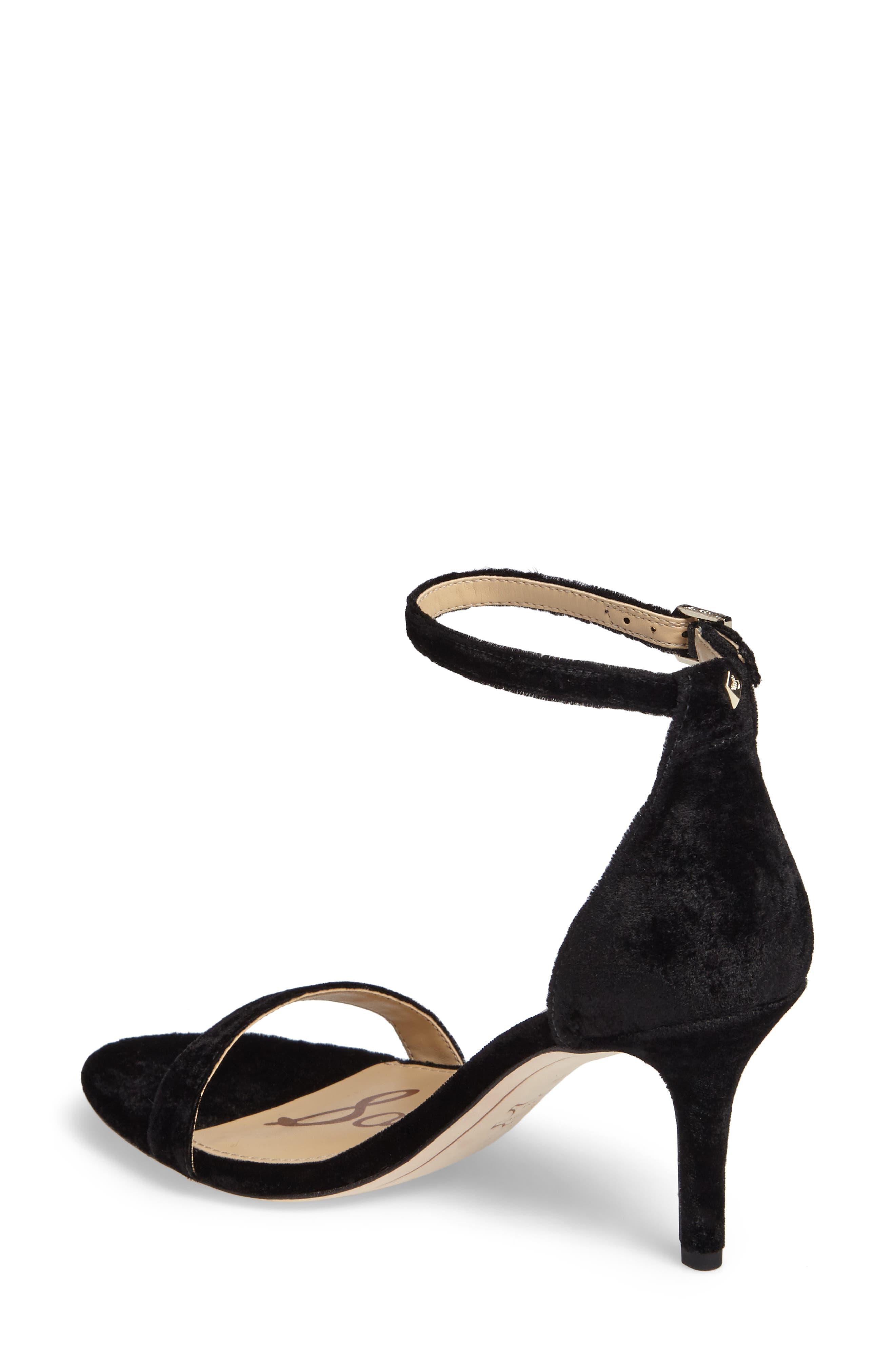 SAM EDELMAN, 'Patti' Ankle Strap Sandal, Alternate thumbnail 2, color, BLACK VELVET