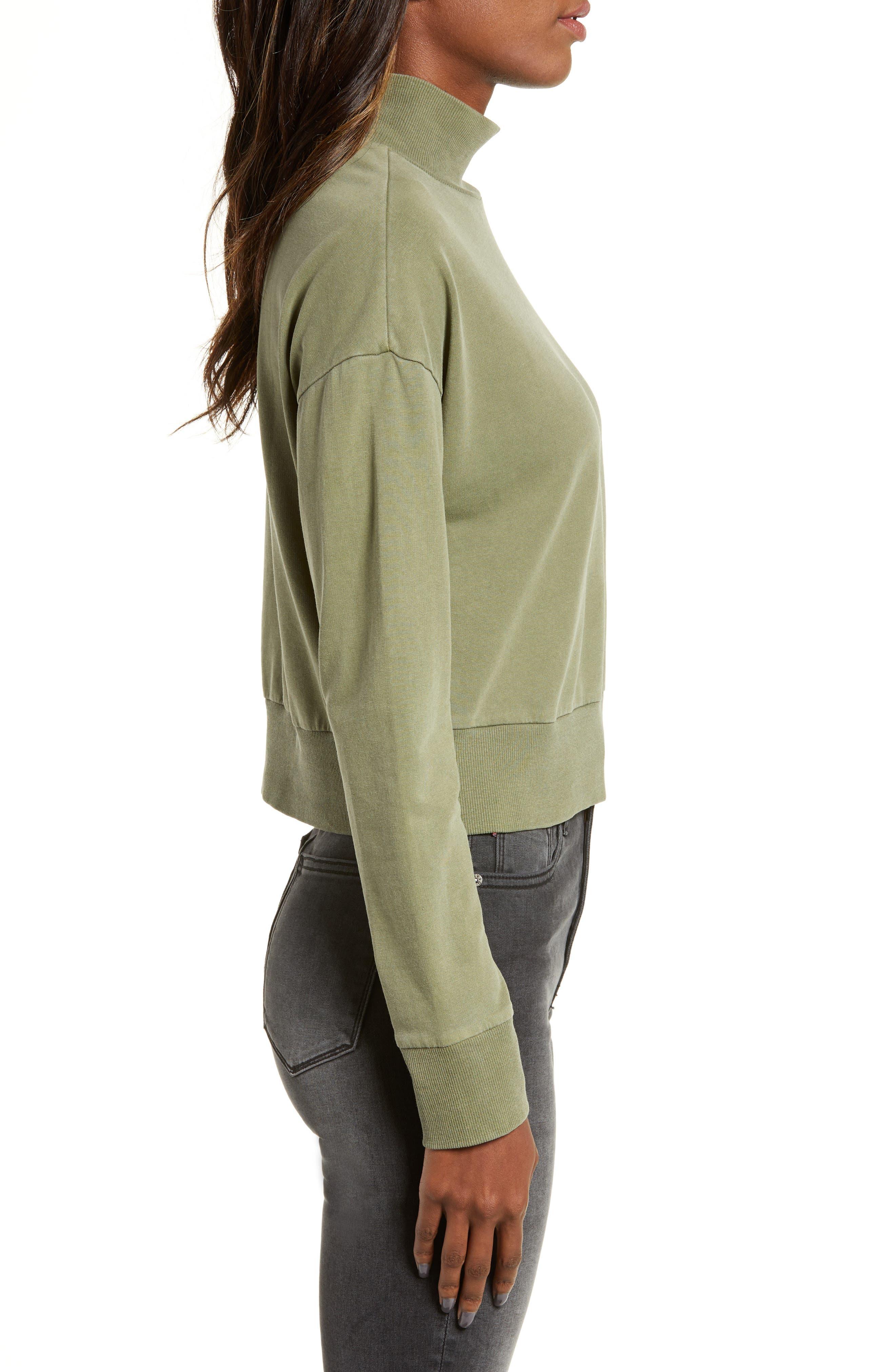 BP., Washed Mock Neck Sweatshirt, Alternate thumbnail 4, color, OLIVE BURNT