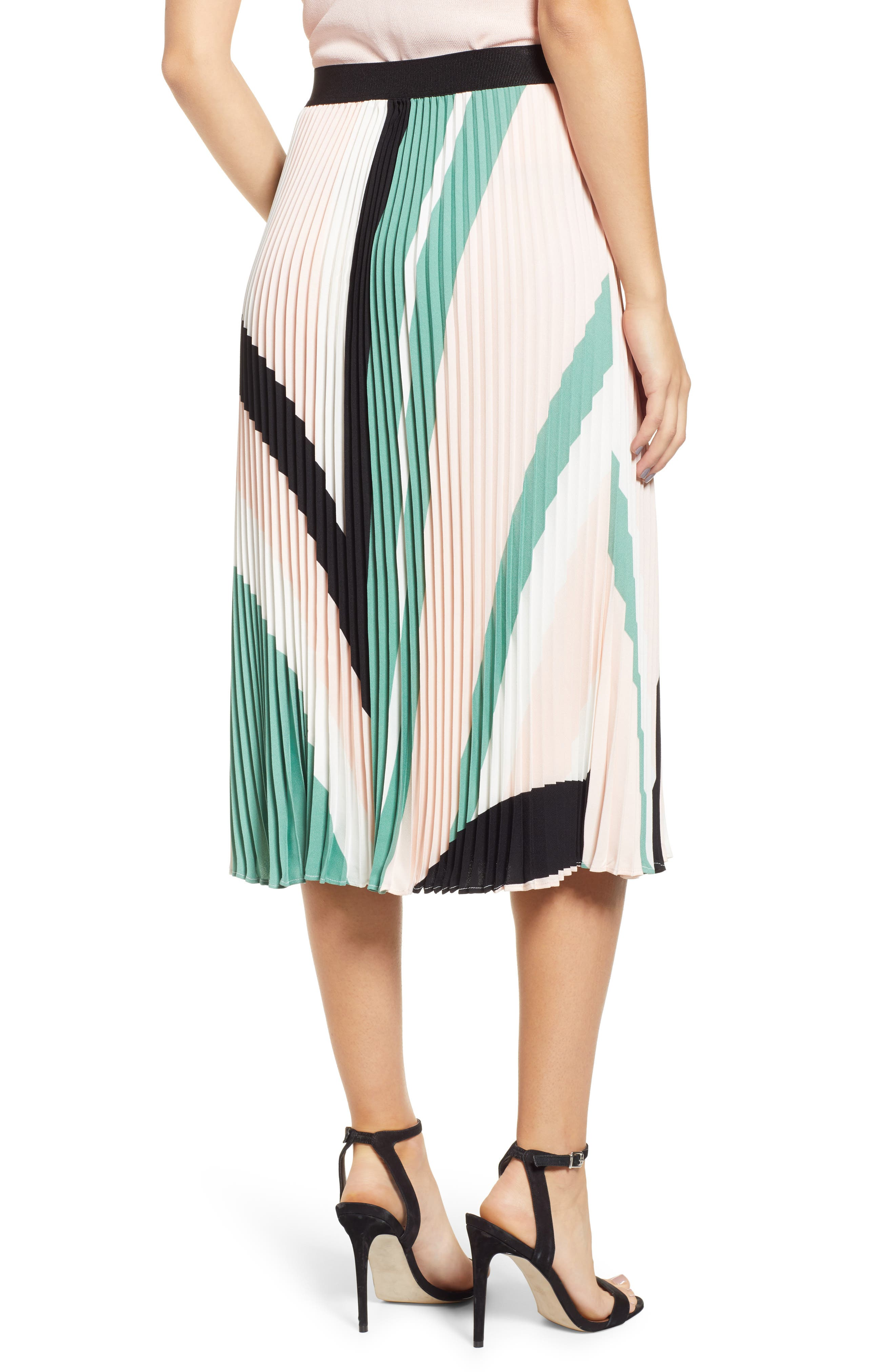 LEITH, Pleated Midi Skirt, Alternate thumbnail 3, color, PINK CHINTZ TRIANGLE STRIPE