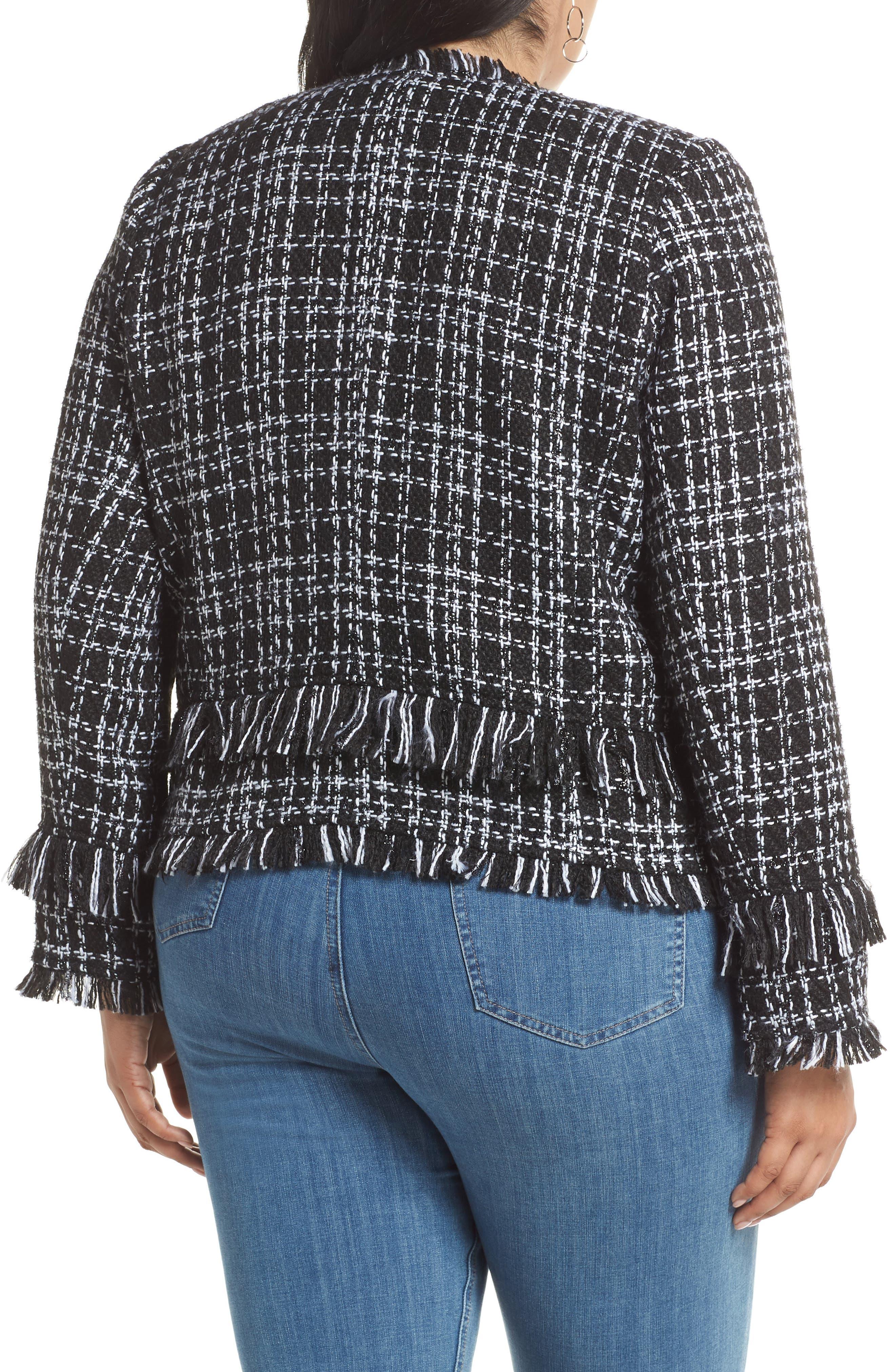 HALOGEN<SUP>®</SUP>, Tweed Fringe Jacket, Alternate thumbnail 2, color, BLACK- WHITE TWEED