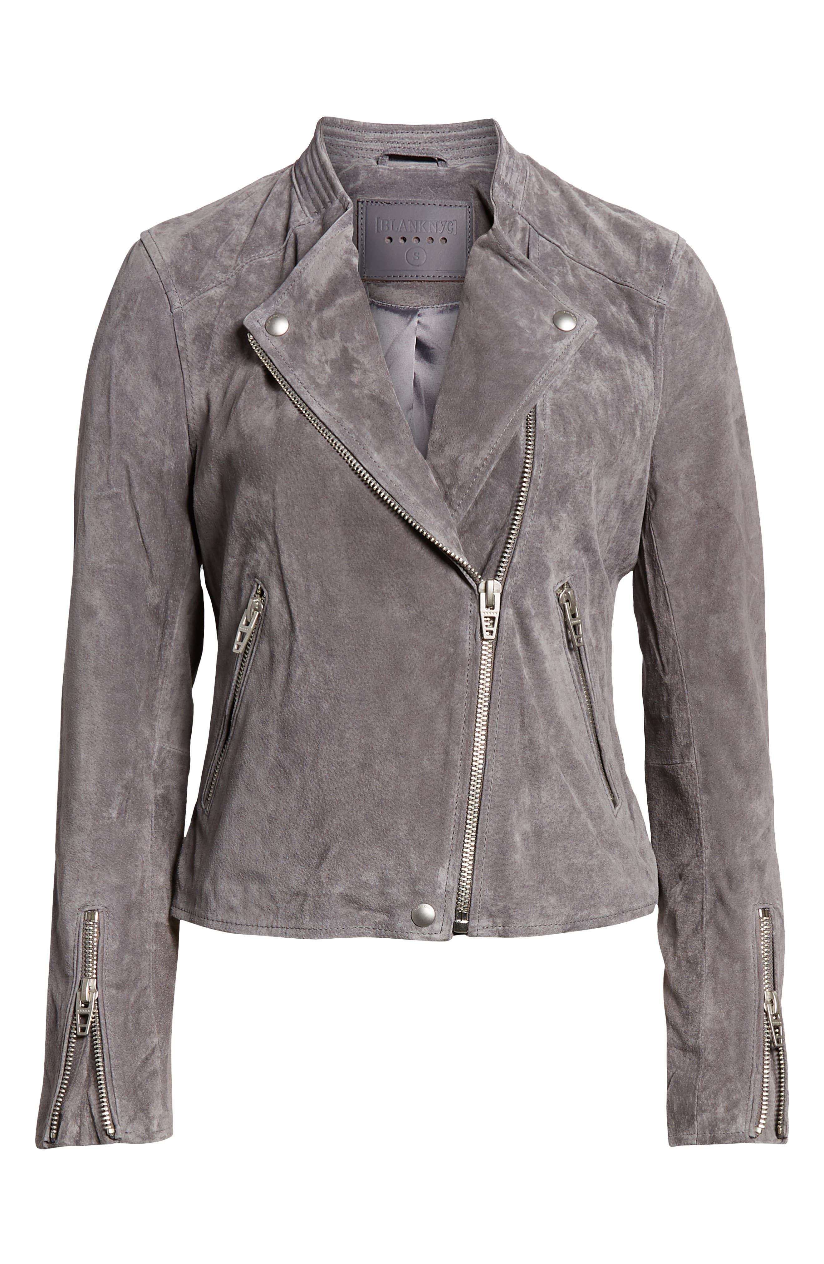 BLANKNYC, No Limit Suede Moto Jacket, Alternate thumbnail 6, color, 020