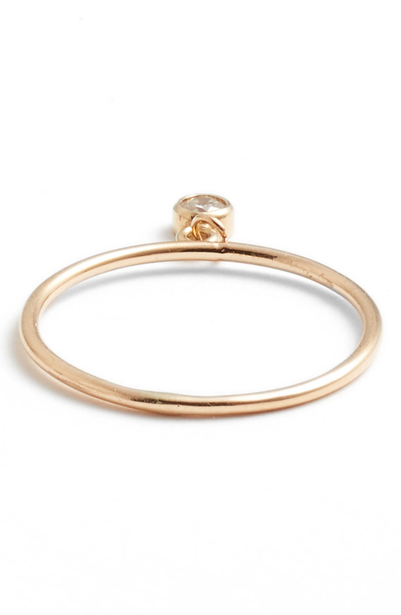 ZOË CHICCO, Dangling Diamond Ring, Alternate thumbnail 3, color, YELLOW GOLD