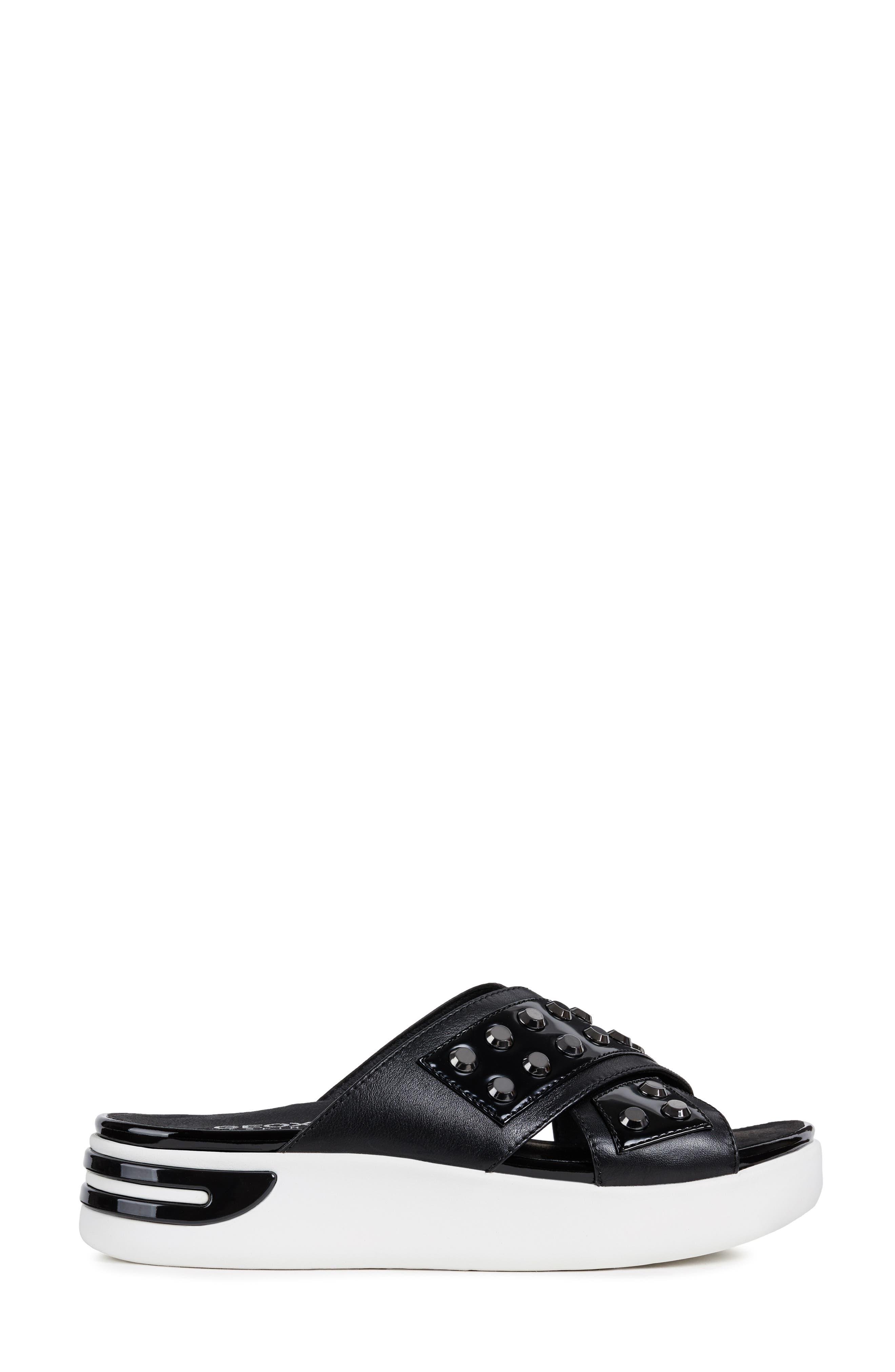 GEOX, Ottaya Studded Slide Sandal, Alternate thumbnail 3, color, BLACK LEATHER