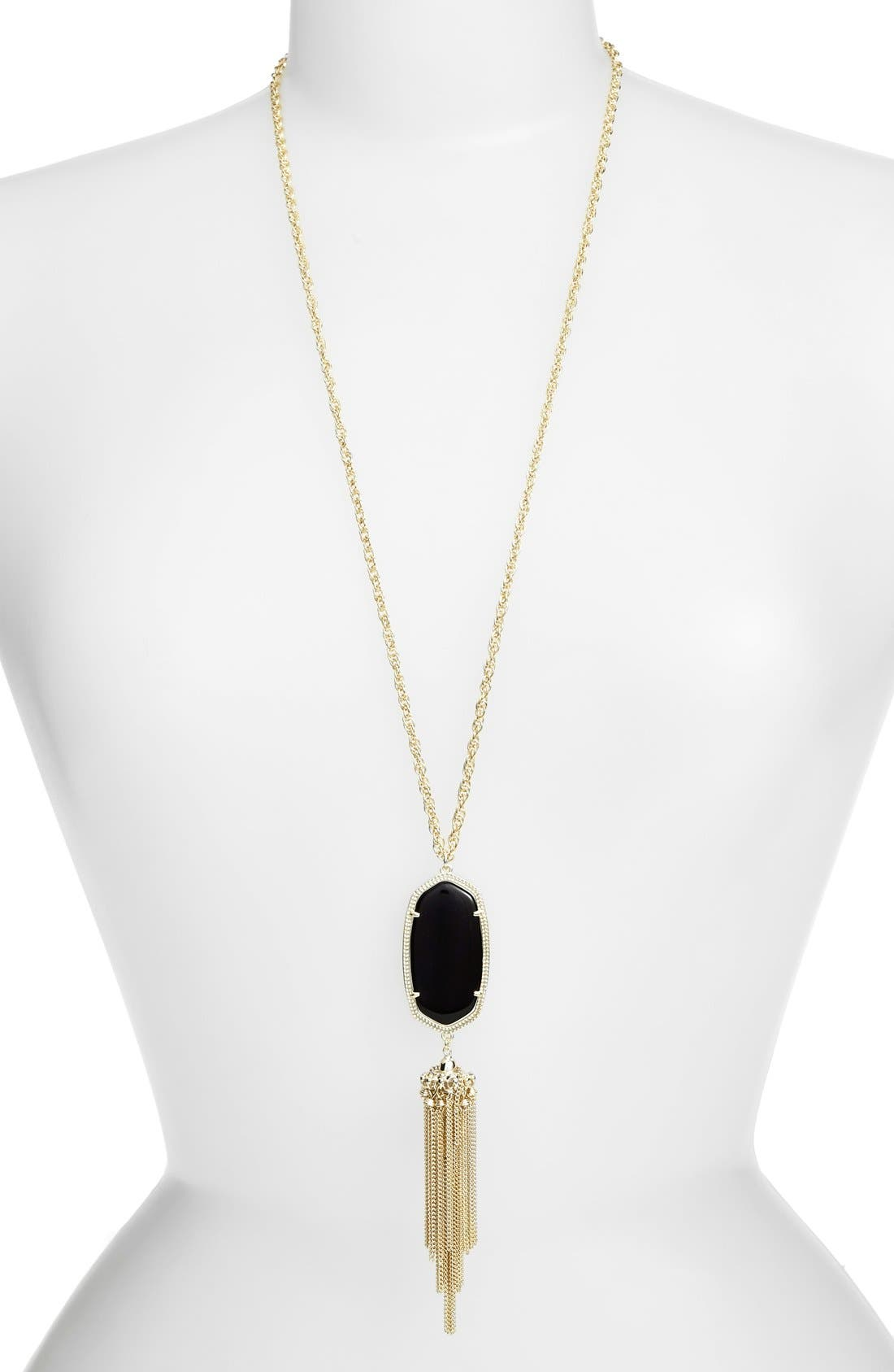 KENDRA SCOTT, Rayne Stone Tassel Pendant Necklace, Main thumbnail 1, color, 001