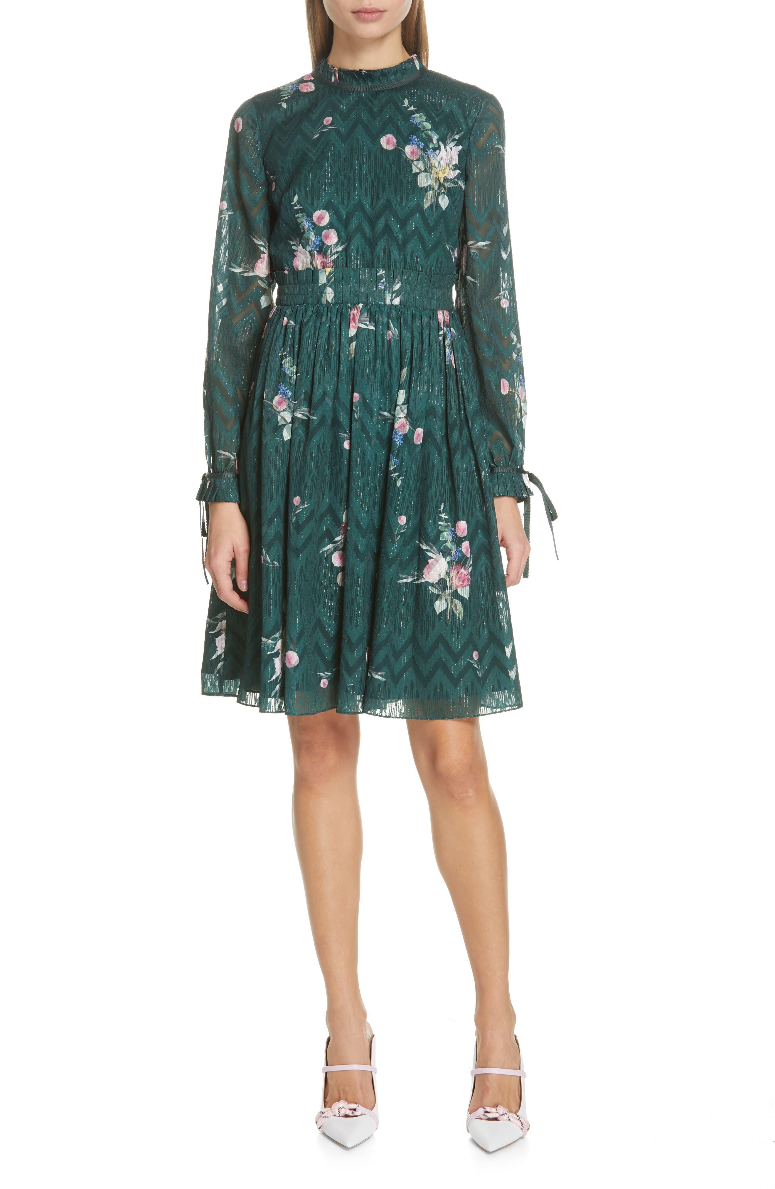 TED BAKER LONDON, Sofiya Floral Ribbon Tie Dress, Main thumbnail 1, color, DARK GREEN