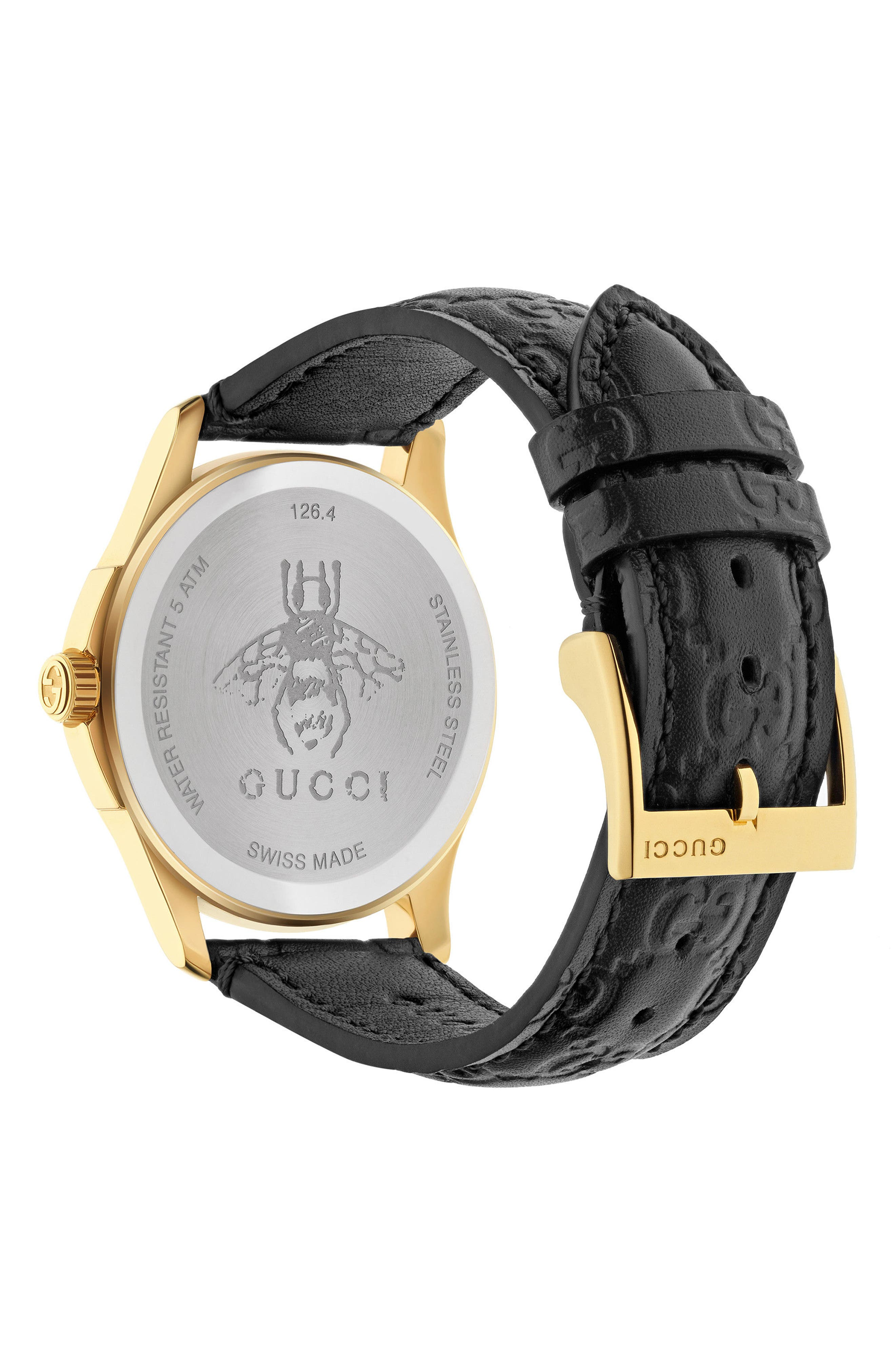 GUCCI, G-Timeless Leather Strap Watch, 38mm, Alternate thumbnail 2, color, BLACK/ GOLD