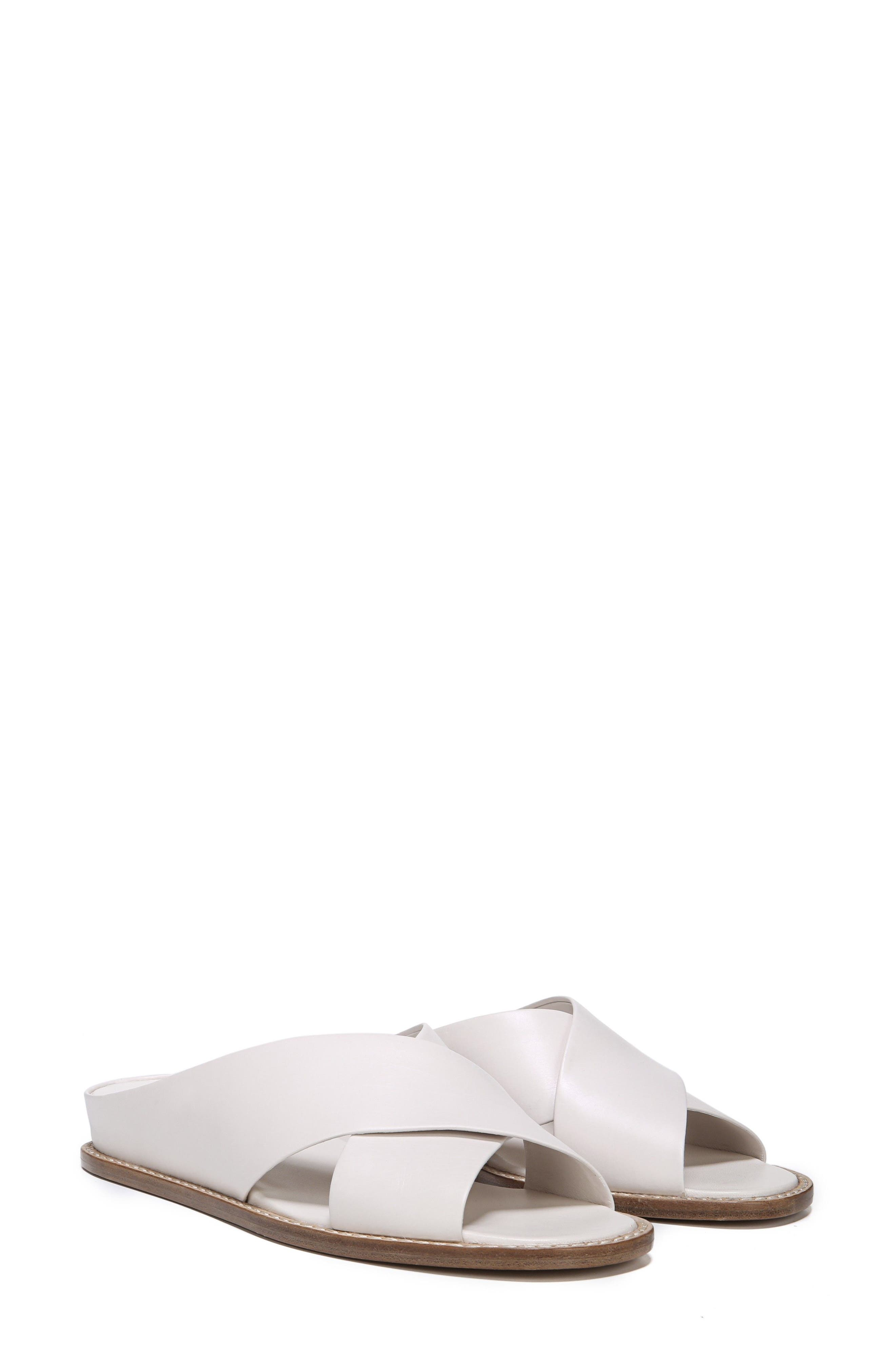 VINCE, Fairley Cross Strap Sandal, Alternate thumbnail 8, color, OFF WHITE LEATHER
