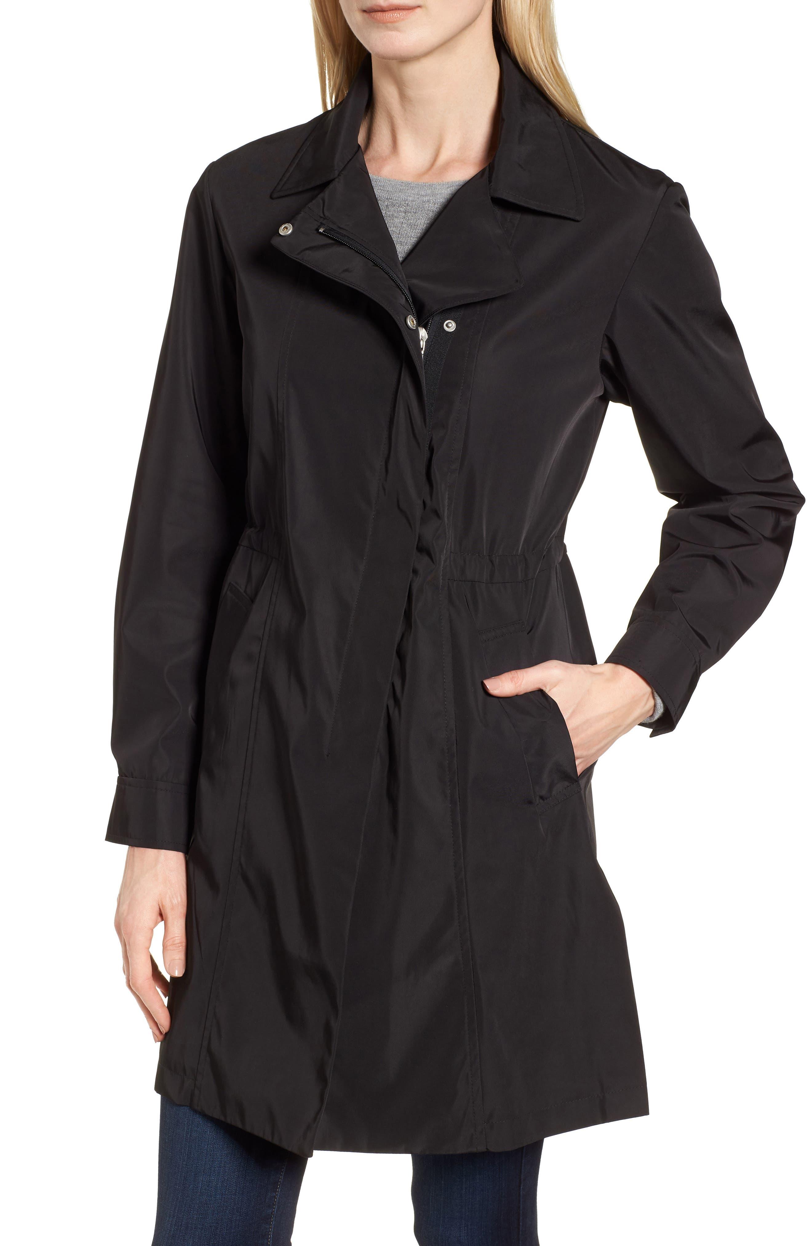 KRISTEN BLAKE, Tech Hooded Trench Coat, Alternate thumbnail 5, color, BLACK