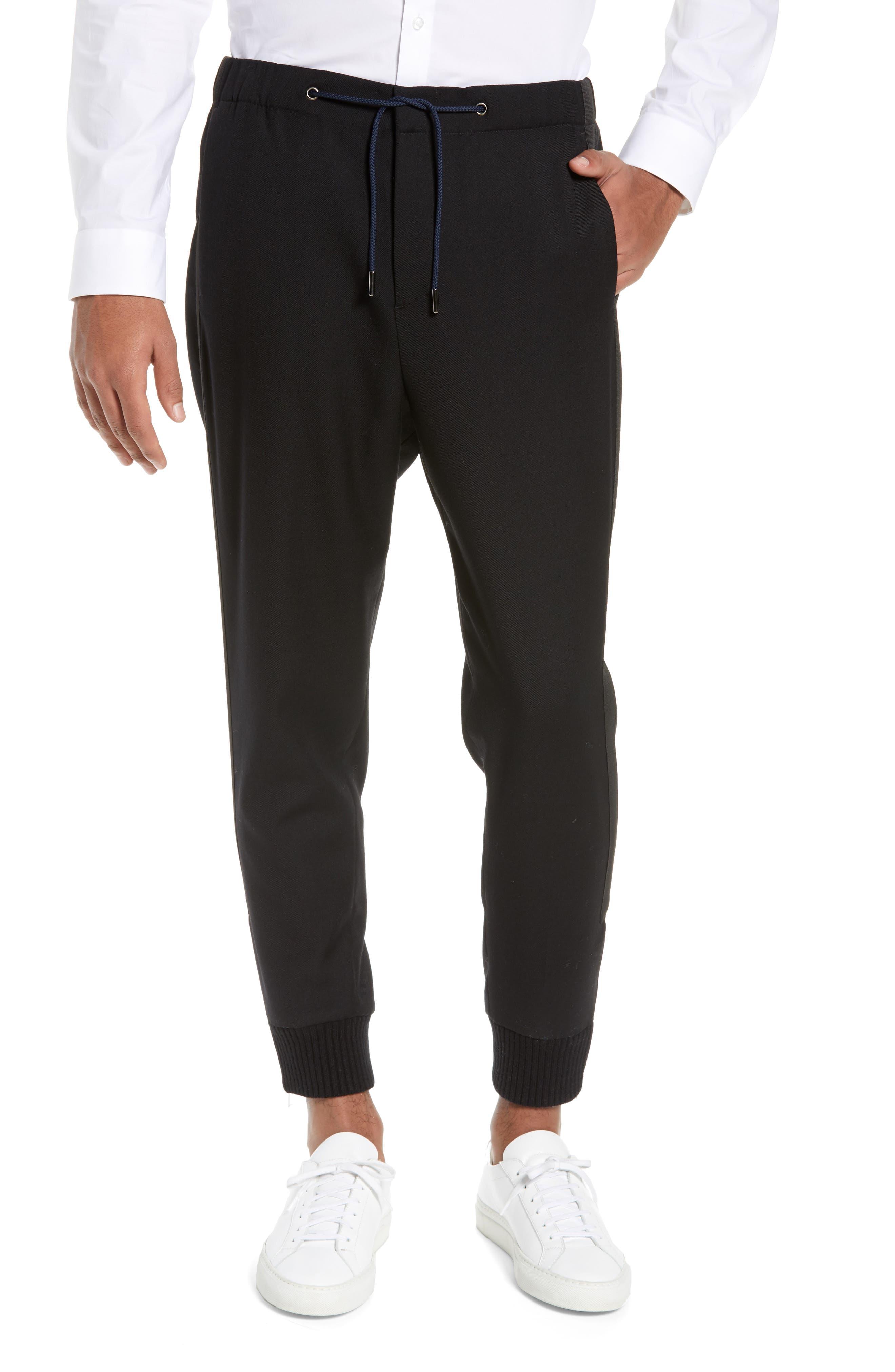 THE KOOPLES Straight Leg Woven Jogger Pants, Main, color, BLACK