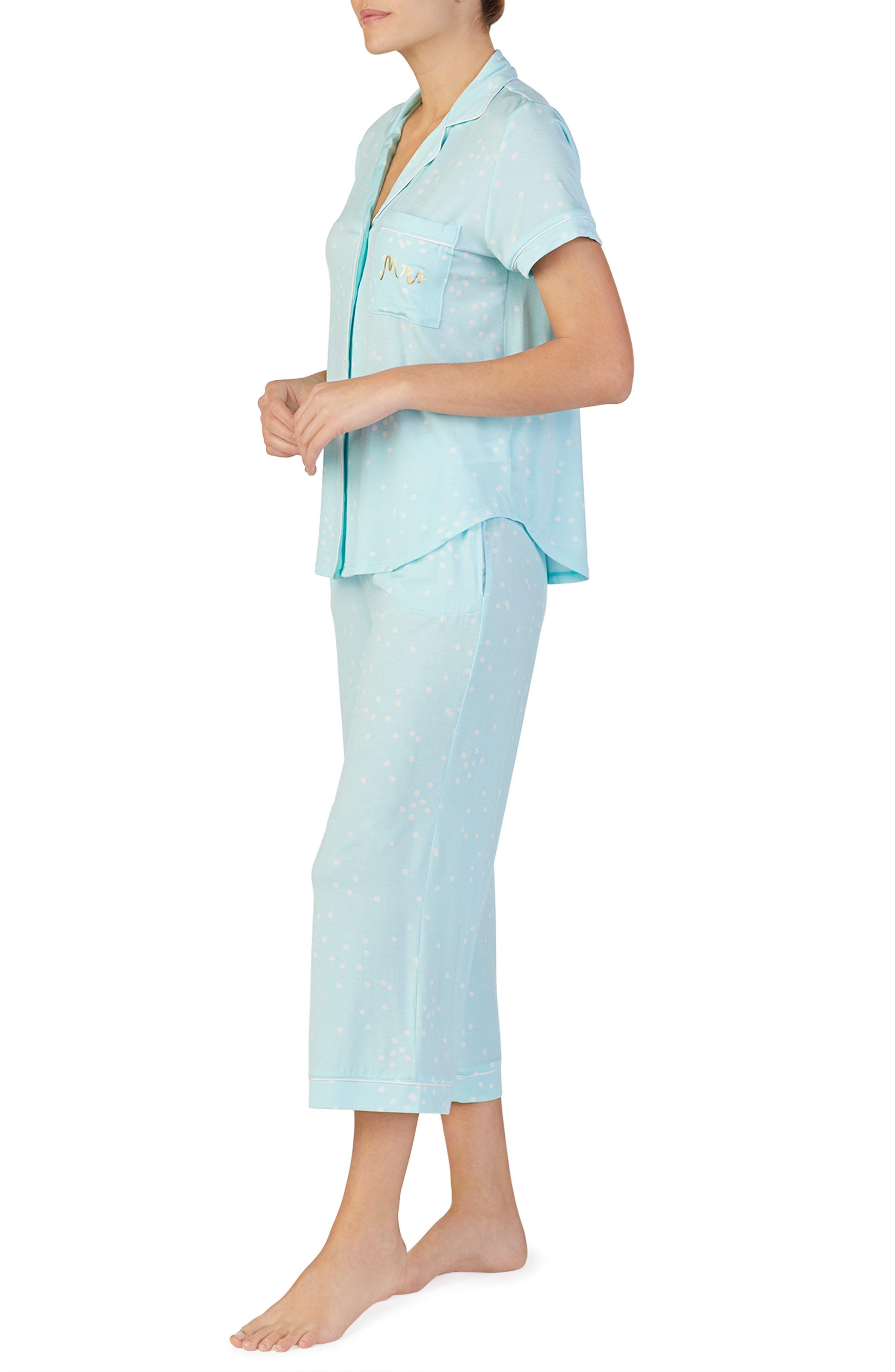 KATE SPADE NEW YORK, mrs crop pajamas, Alternate thumbnail 3, color, BRIDAL CONFETTI DOT