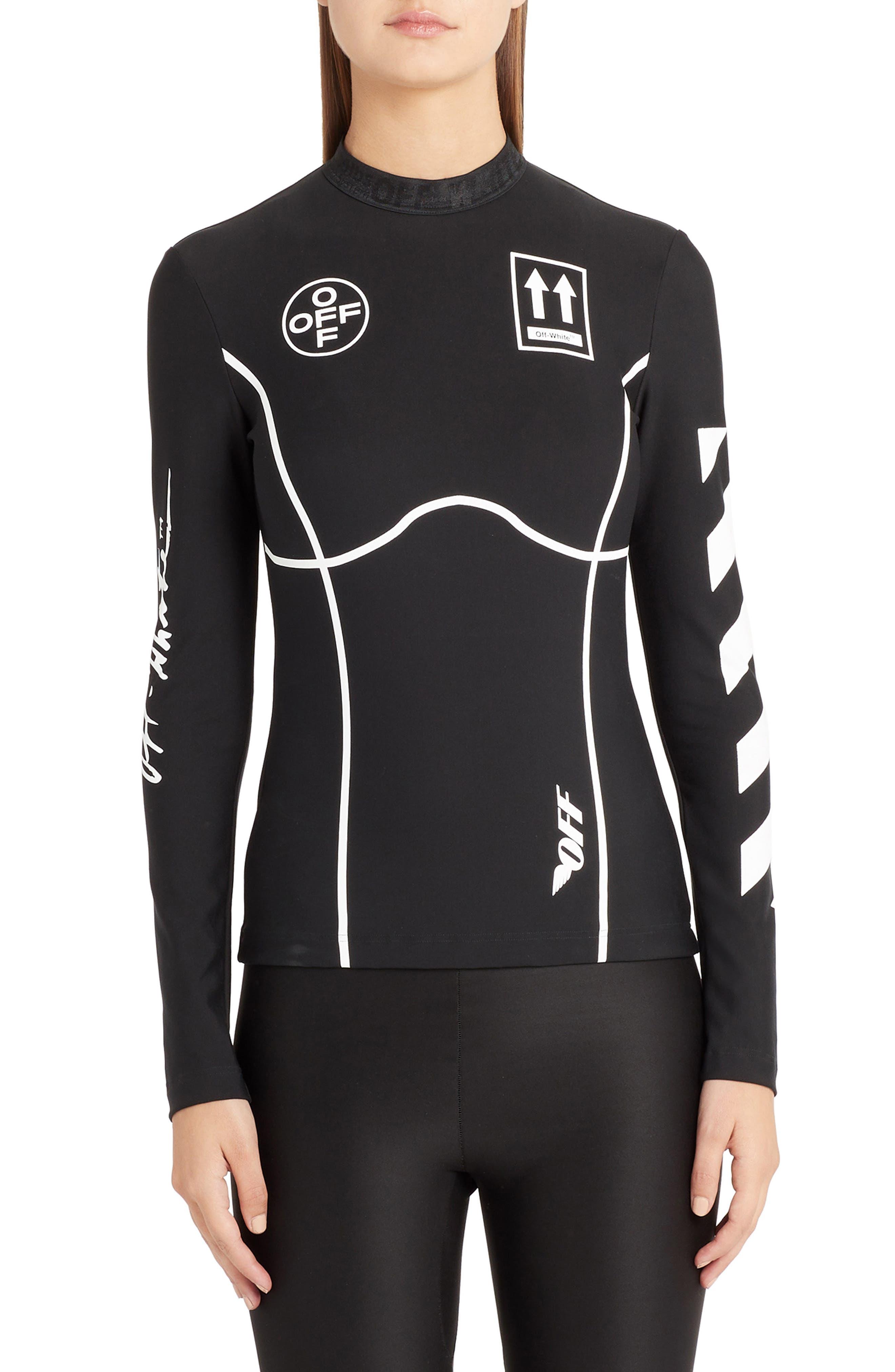 OFF-WHITE Diagonal Stripe Sport Top, Main, color, BLACK WHITE