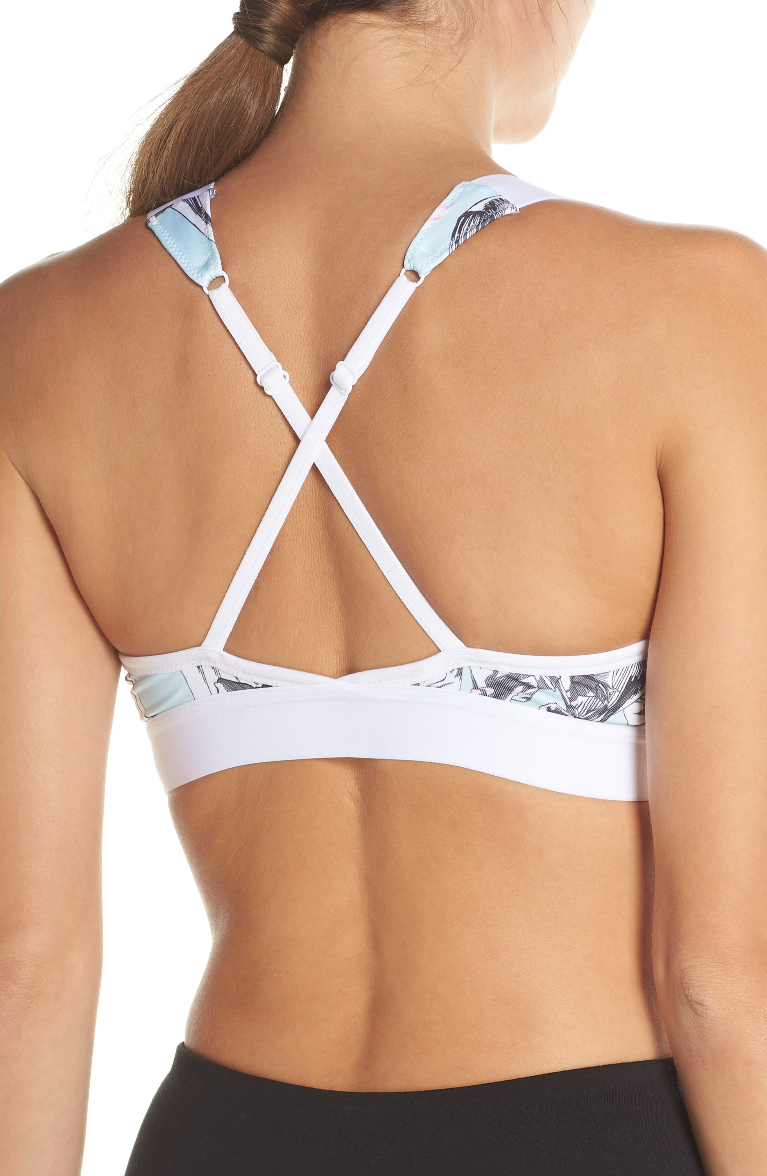 NIKE, Indy Hyper Femme Floral Sports Bra, Alternate thumbnail 2, color, 100