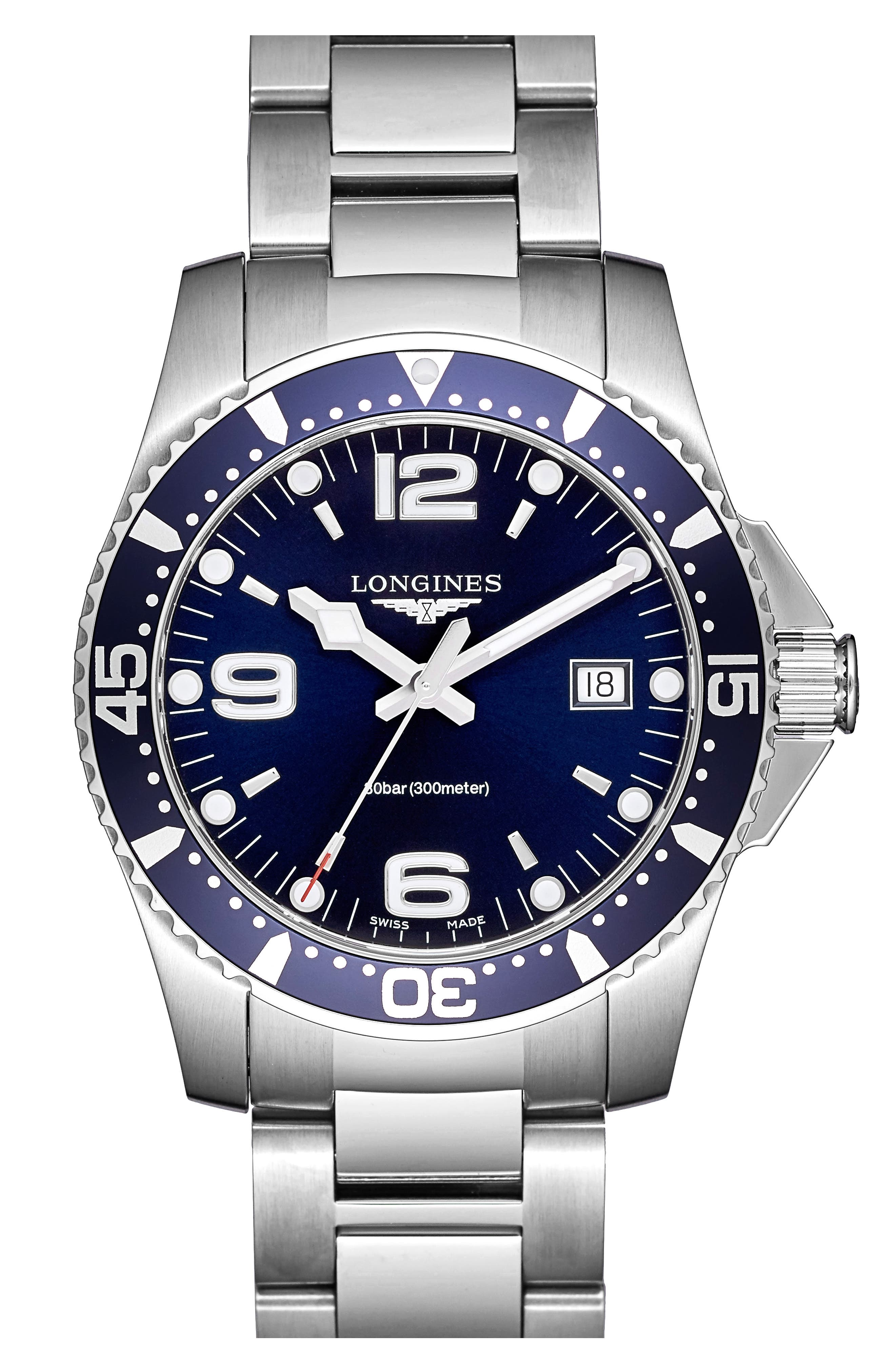 LONGINES, HydroConquest Bracelet Watch, 41mm, Main thumbnail 1, color, SILVER/ BLUE/ SILVER