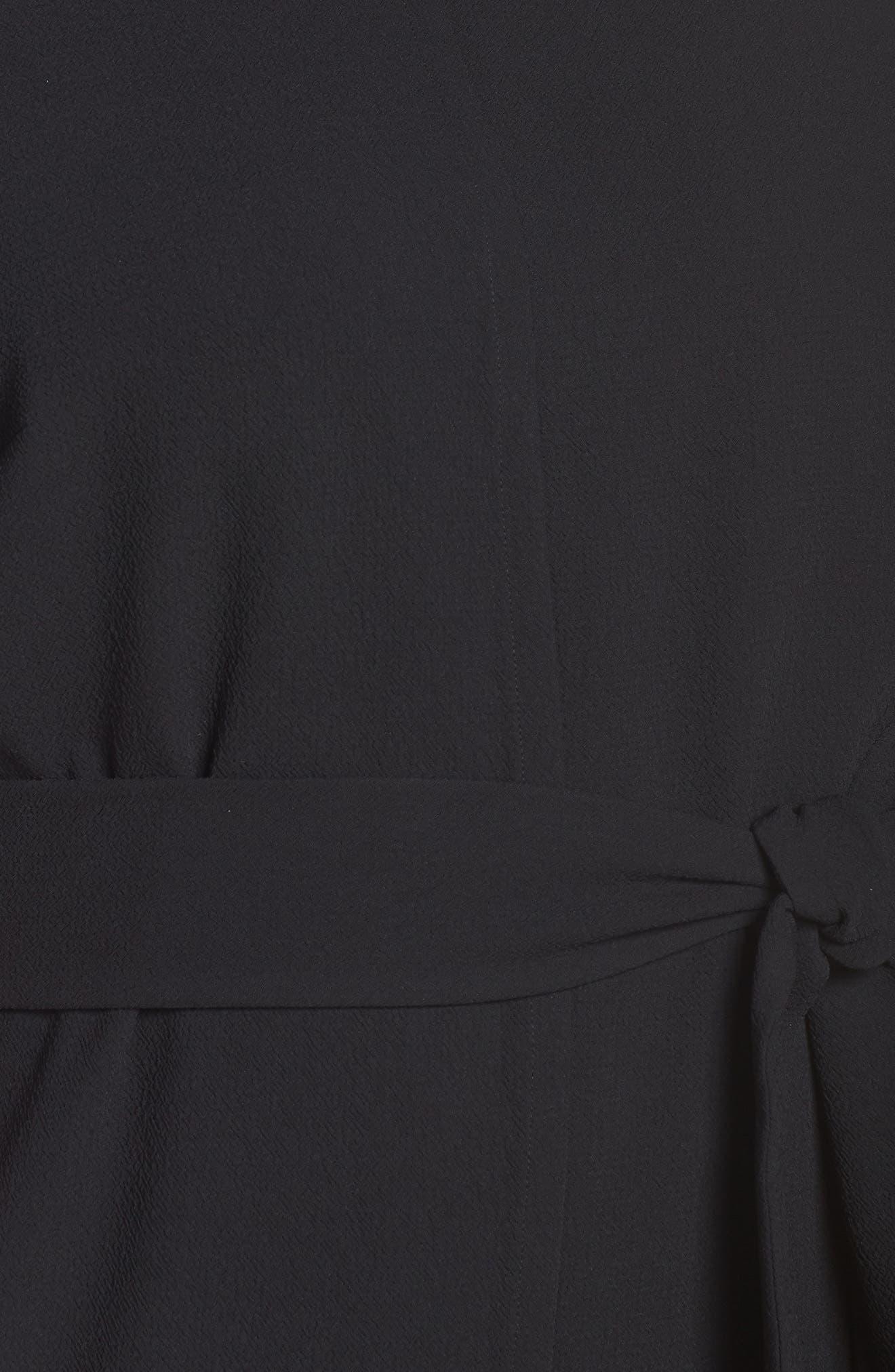 VINCE CAMUTO, Belt Parisian Crepe Dress, Alternate thumbnail 6, color, RICH BLACK