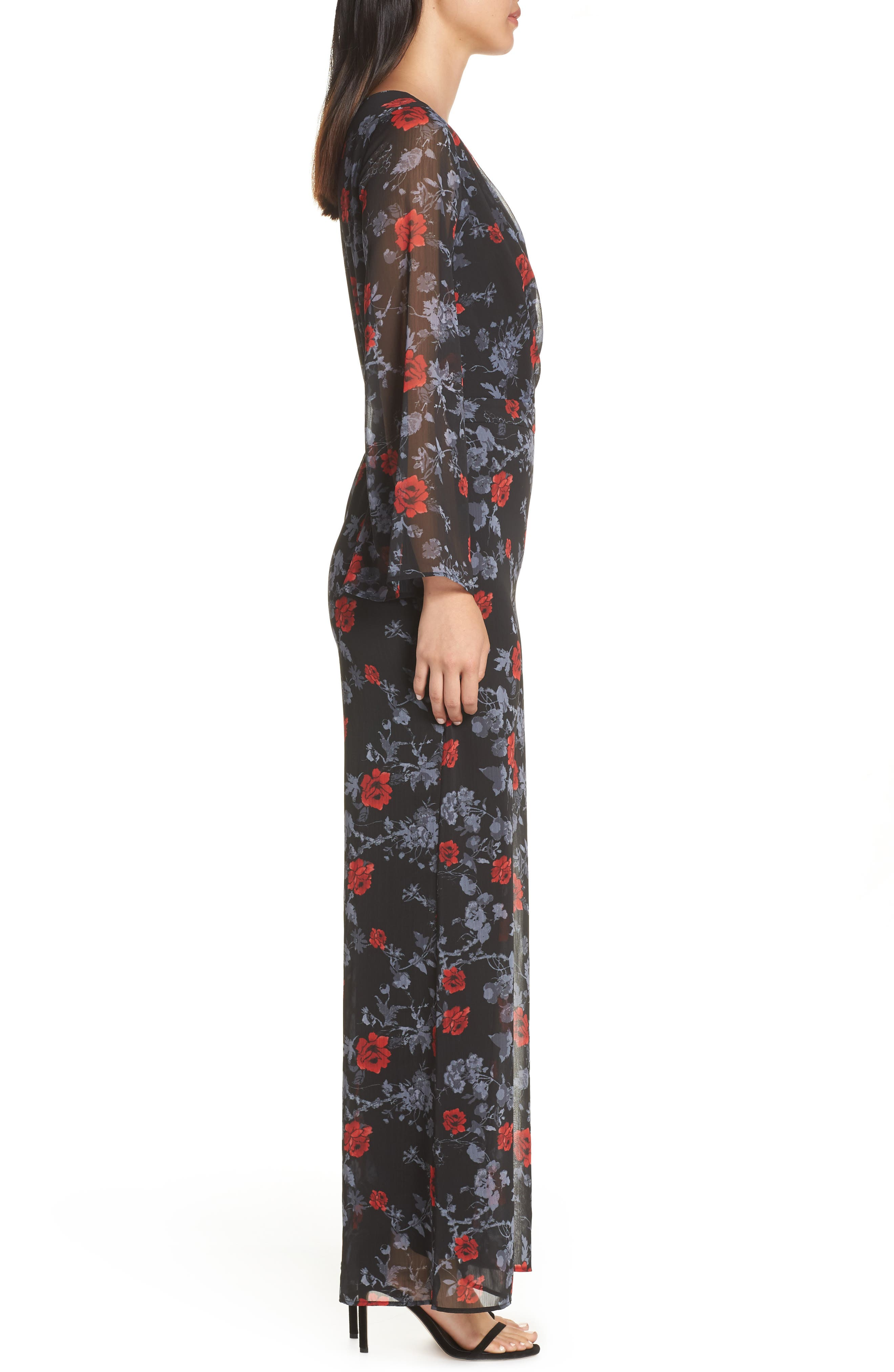 ALI & JAY, Only Wish Floral Jumpsuit, Alternate thumbnail 4, color, 001