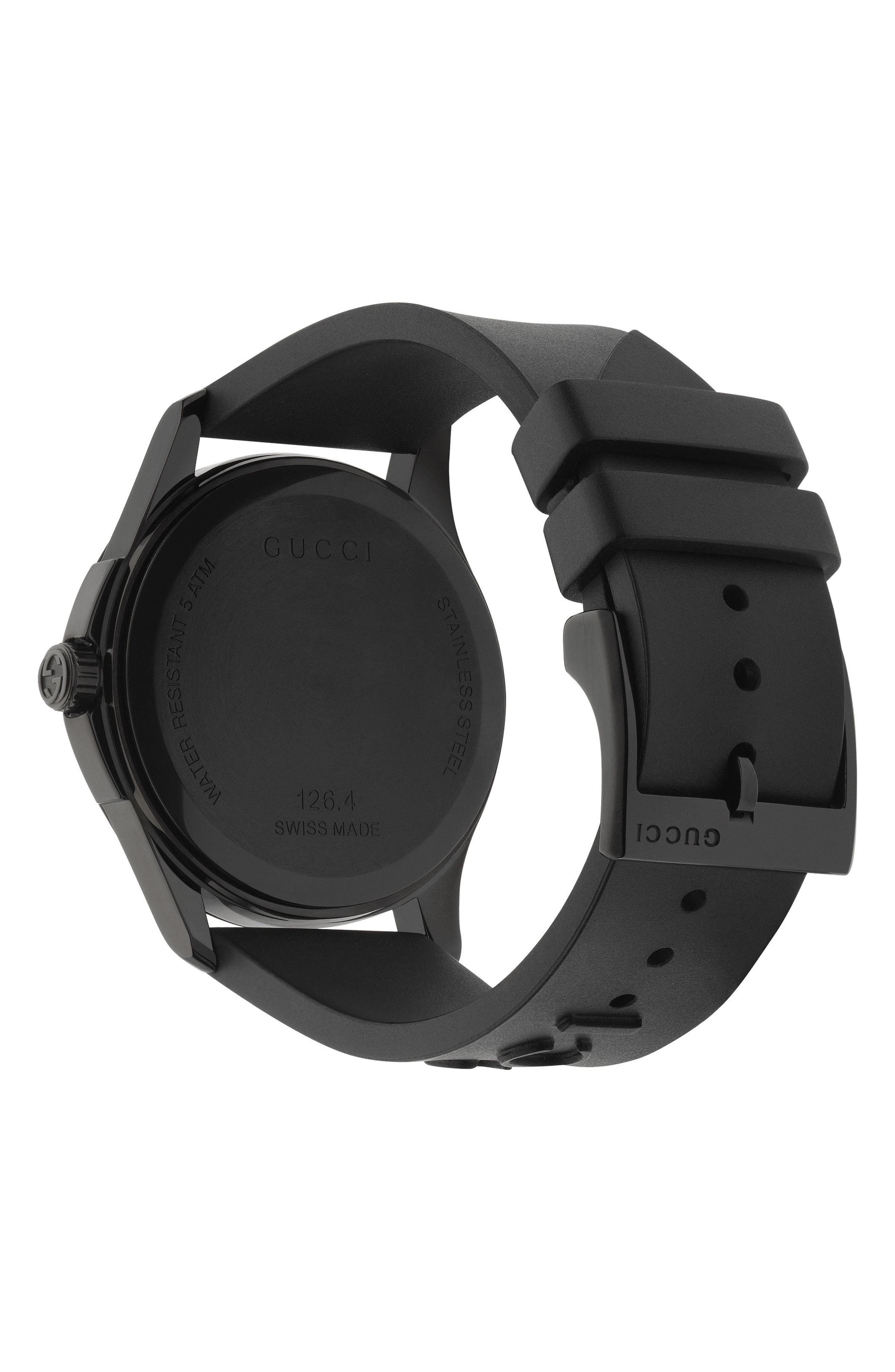 GUCCI, Real Rubber Strap Watch, 38mm, Alternate thumbnail 2, color, BLACK