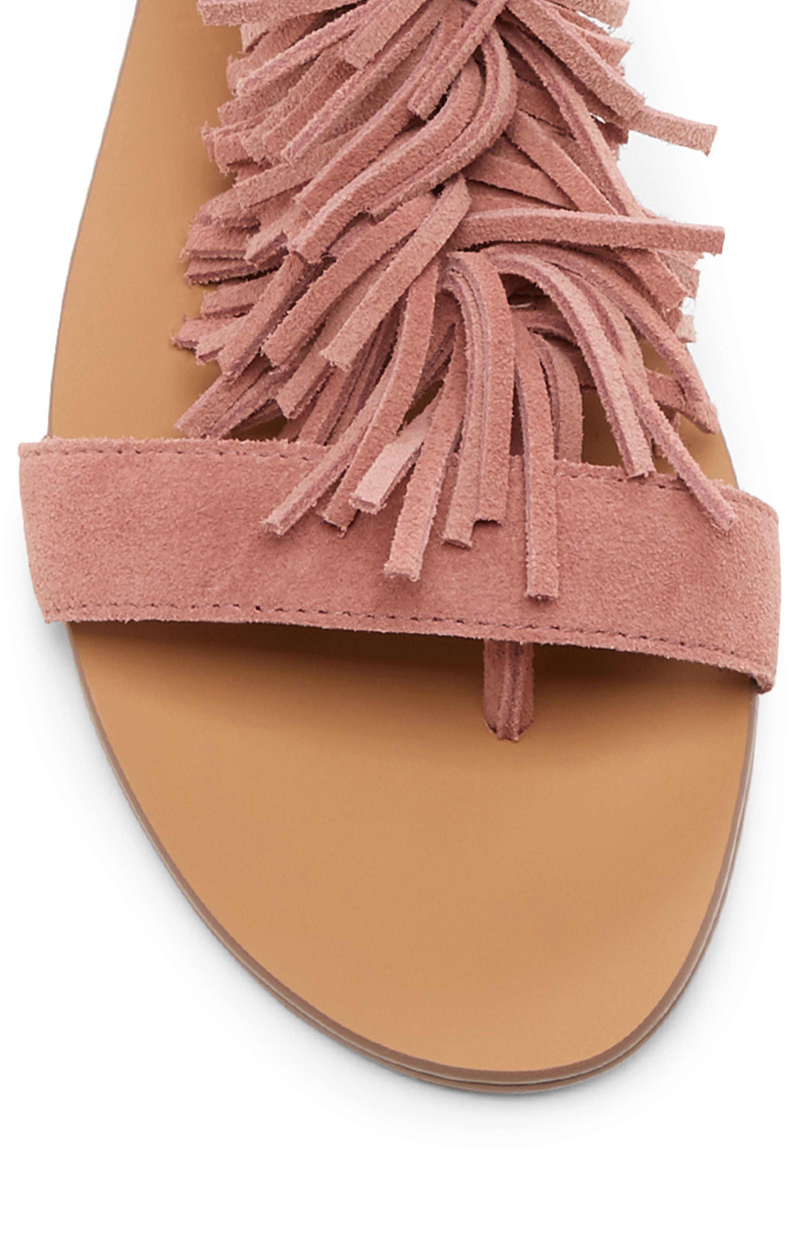 SOLE SOCIETY, 'Koa' Fringe T-Strap Flat Sandal, Alternate thumbnail 8, color, MOD MAUVE SUEDE
