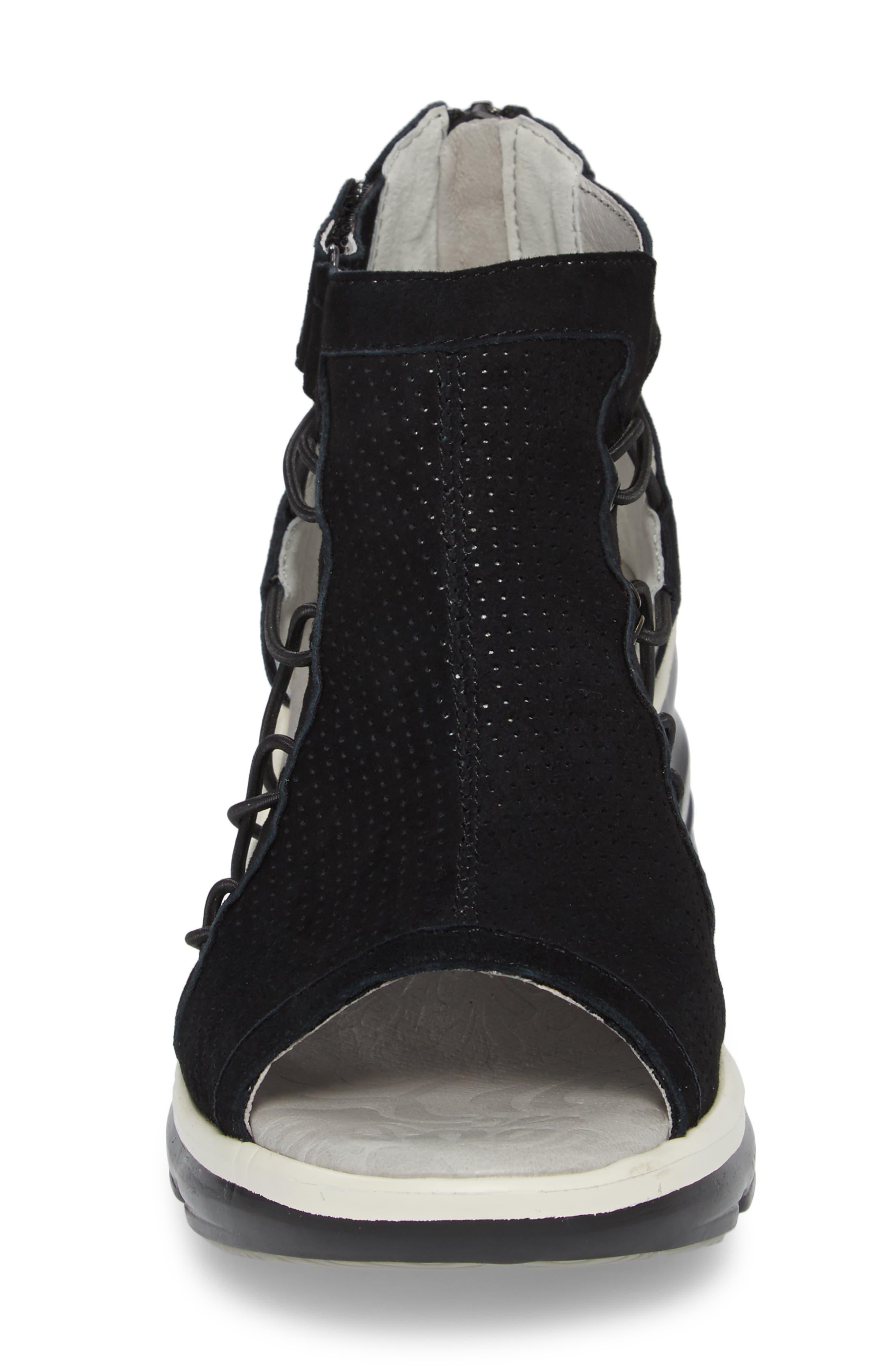 JAMBU, Naomi Perforated Wedge Sandal, Alternate thumbnail 4, color, BLACK SUEDE