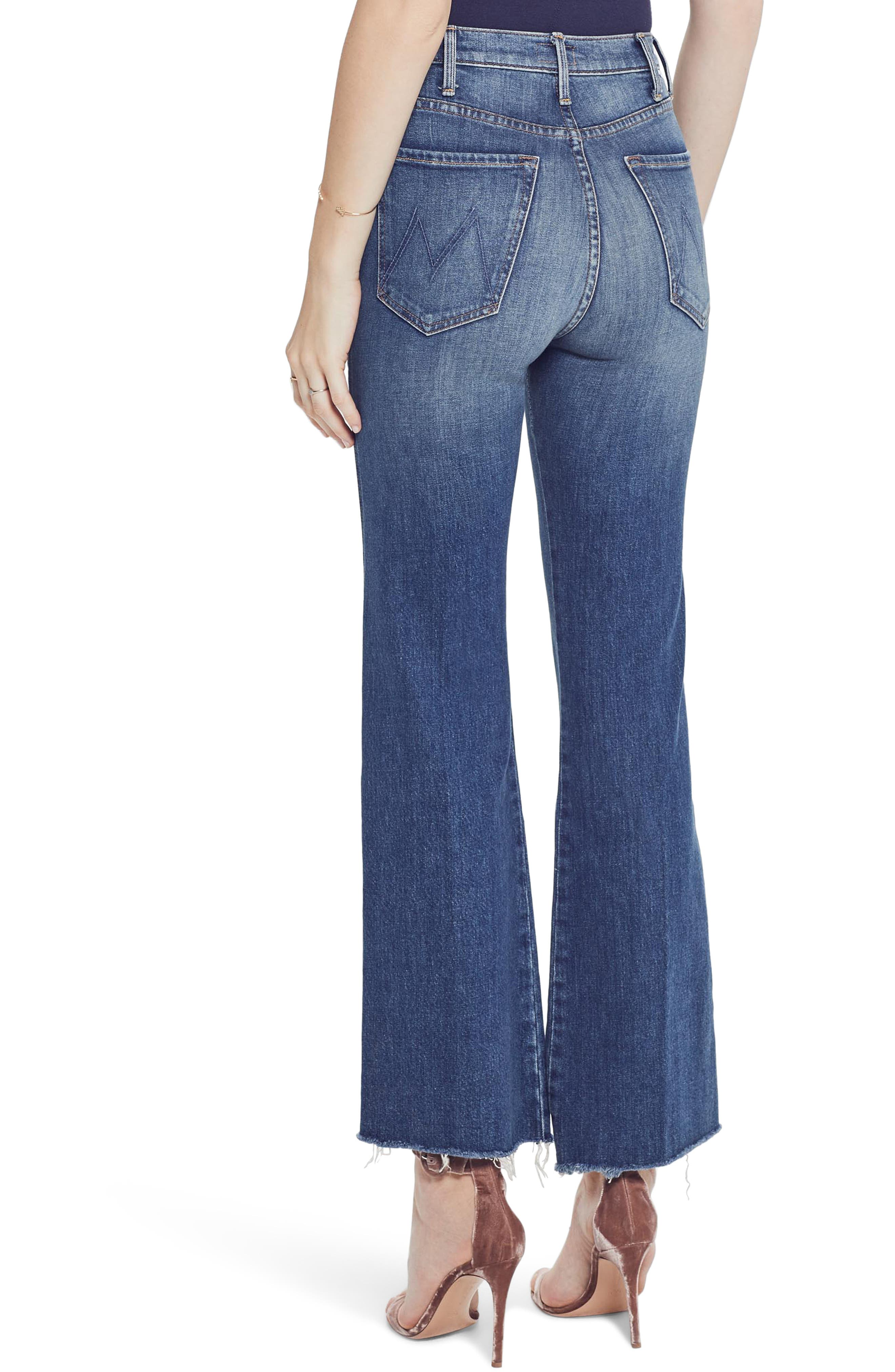 MOTHER, The Tripper Super High Waist Frayed Bootcut Jeans, Alternate thumbnail 2, color, JUST ONE SIP