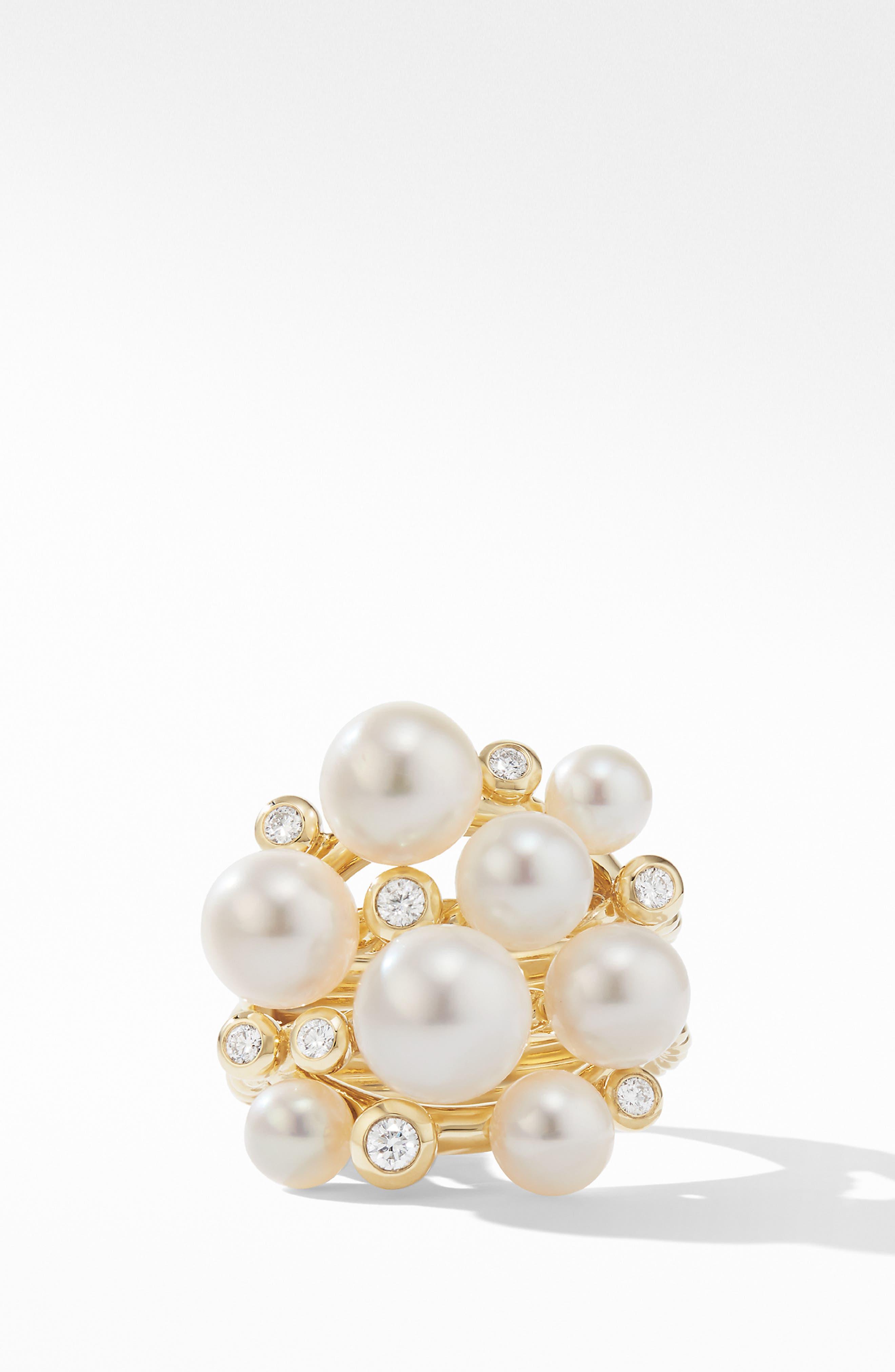 DAVID YURMAN, Large Pearl Cluster Ring with Diamonds, Alternate thumbnail 2, color, YELLOW GOLD/ DIAMOND/ PEARL