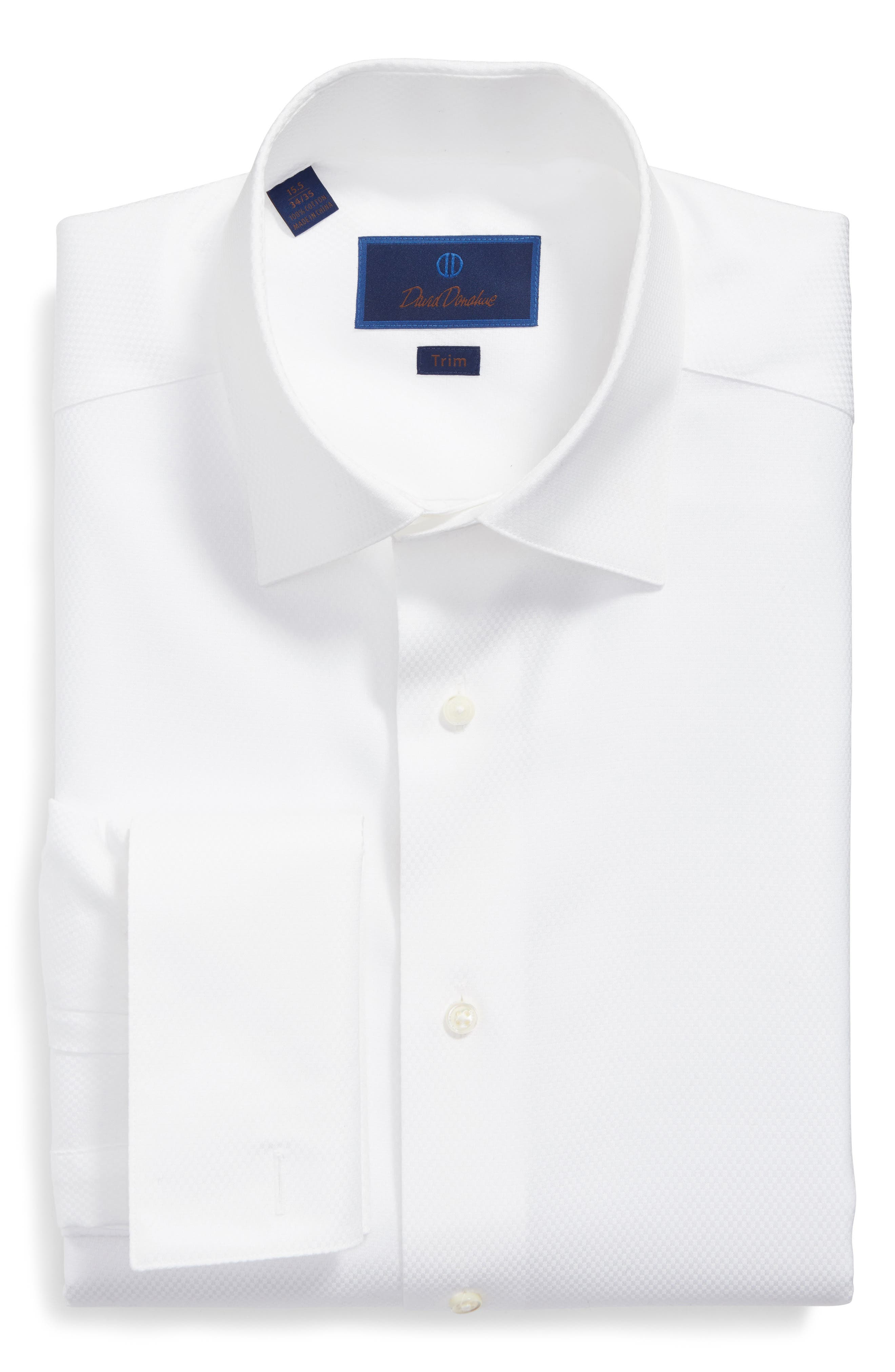 DAVID DONAHUE, Trim Fit Solid French Cuff Tuxedo Shirt, Alternate thumbnail 5, color, WHITE