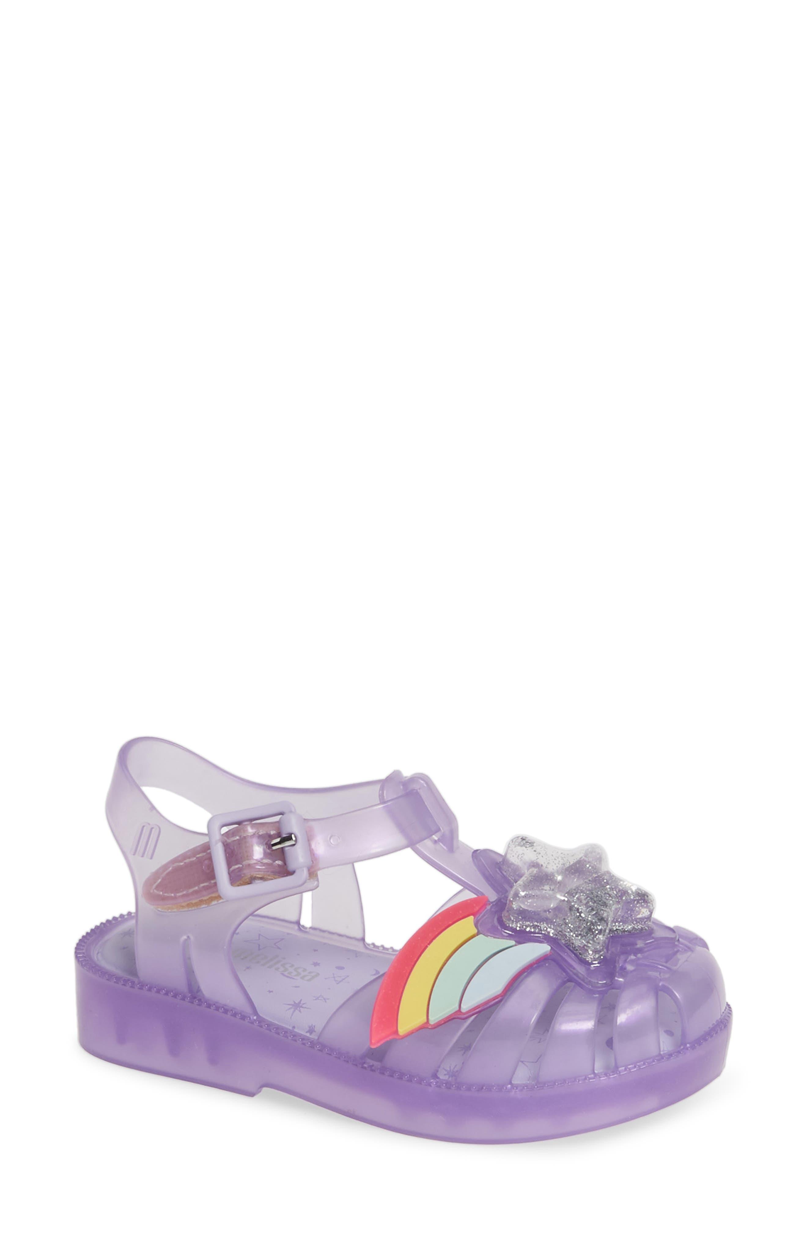 MINI MELISSA, Possession II Glitter Sandal, Main thumbnail 1, color, PURPLE