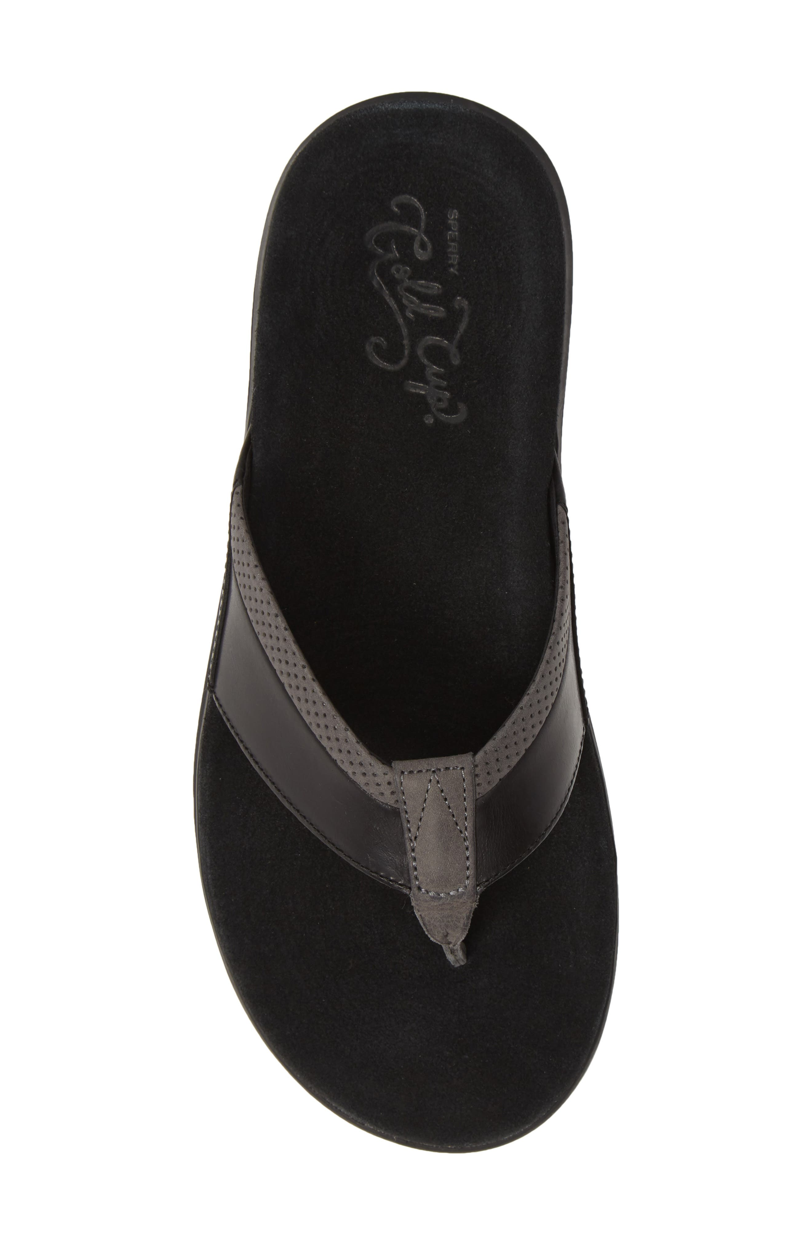 SPERRY, Gold Cup Amalfi Flip Flop, Alternate thumbnail 5, color, BLACK/ GREY LEATHER