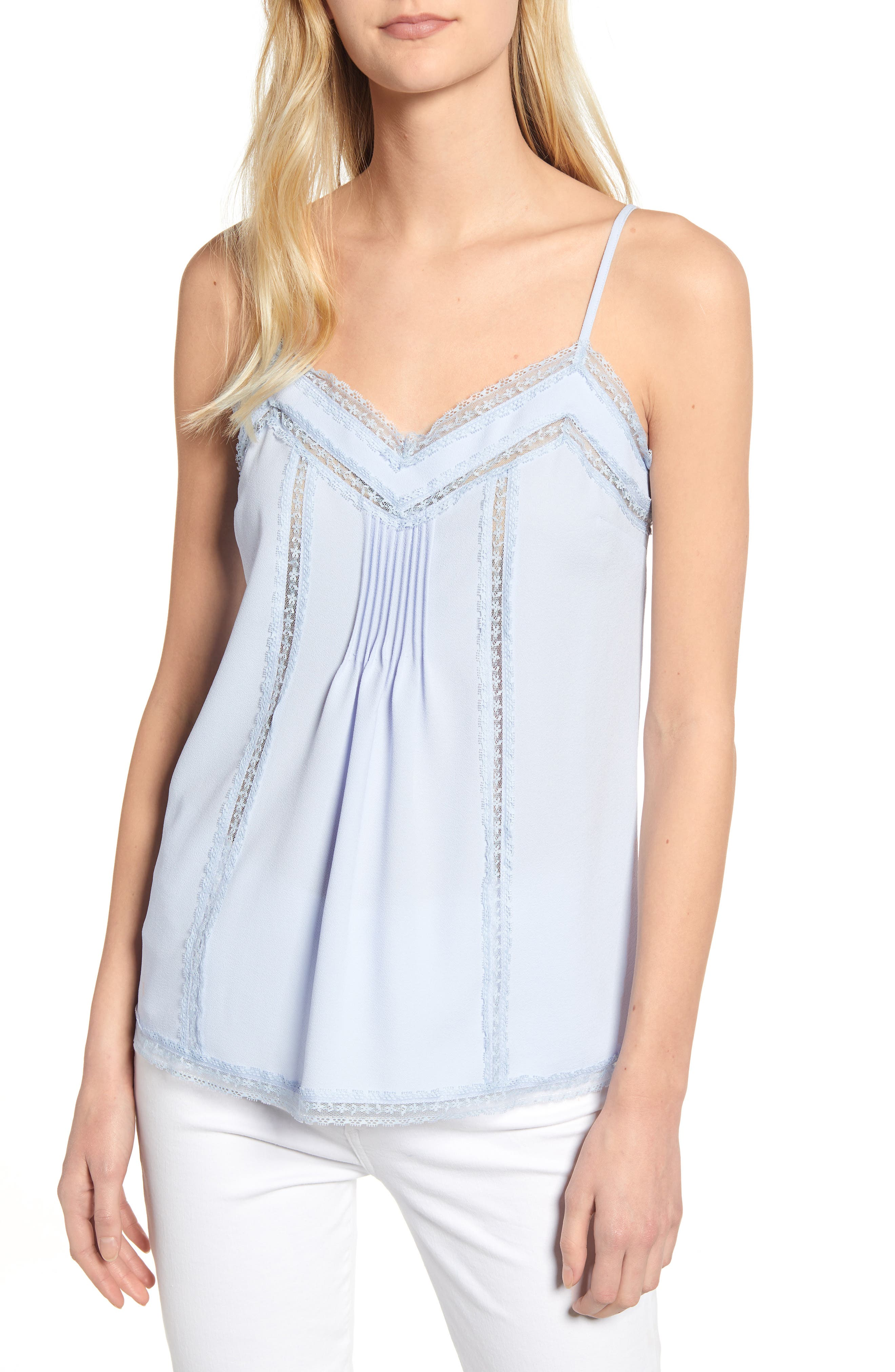 1.STATE, Lace Trim Pintuck Camisole, Main thumbnail 1, color, OPAL WATERS