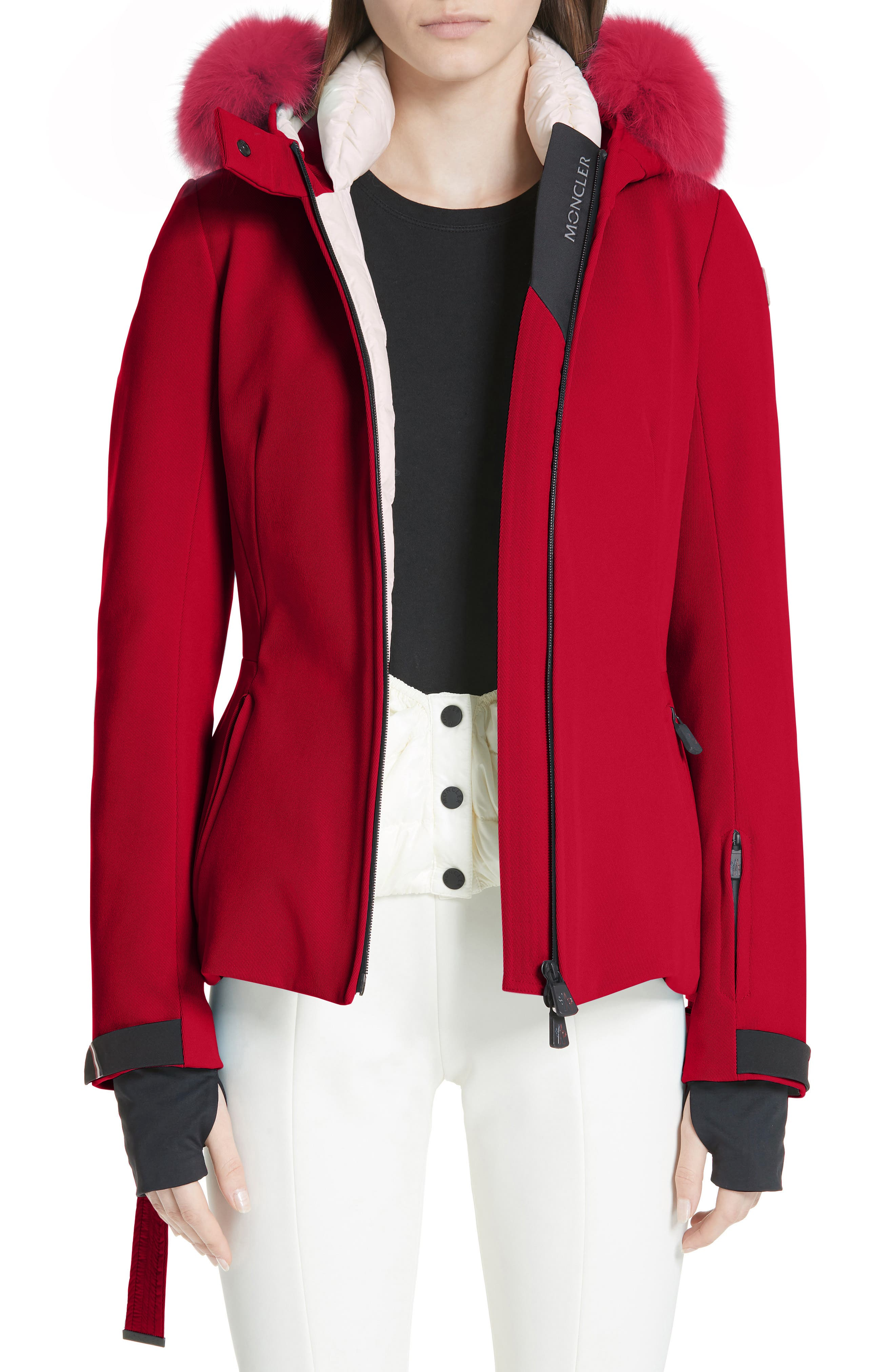 Moncler Bauges Water Repellent Hooded Down Coat With Detachable Genuine Fox Fur Trim, Red