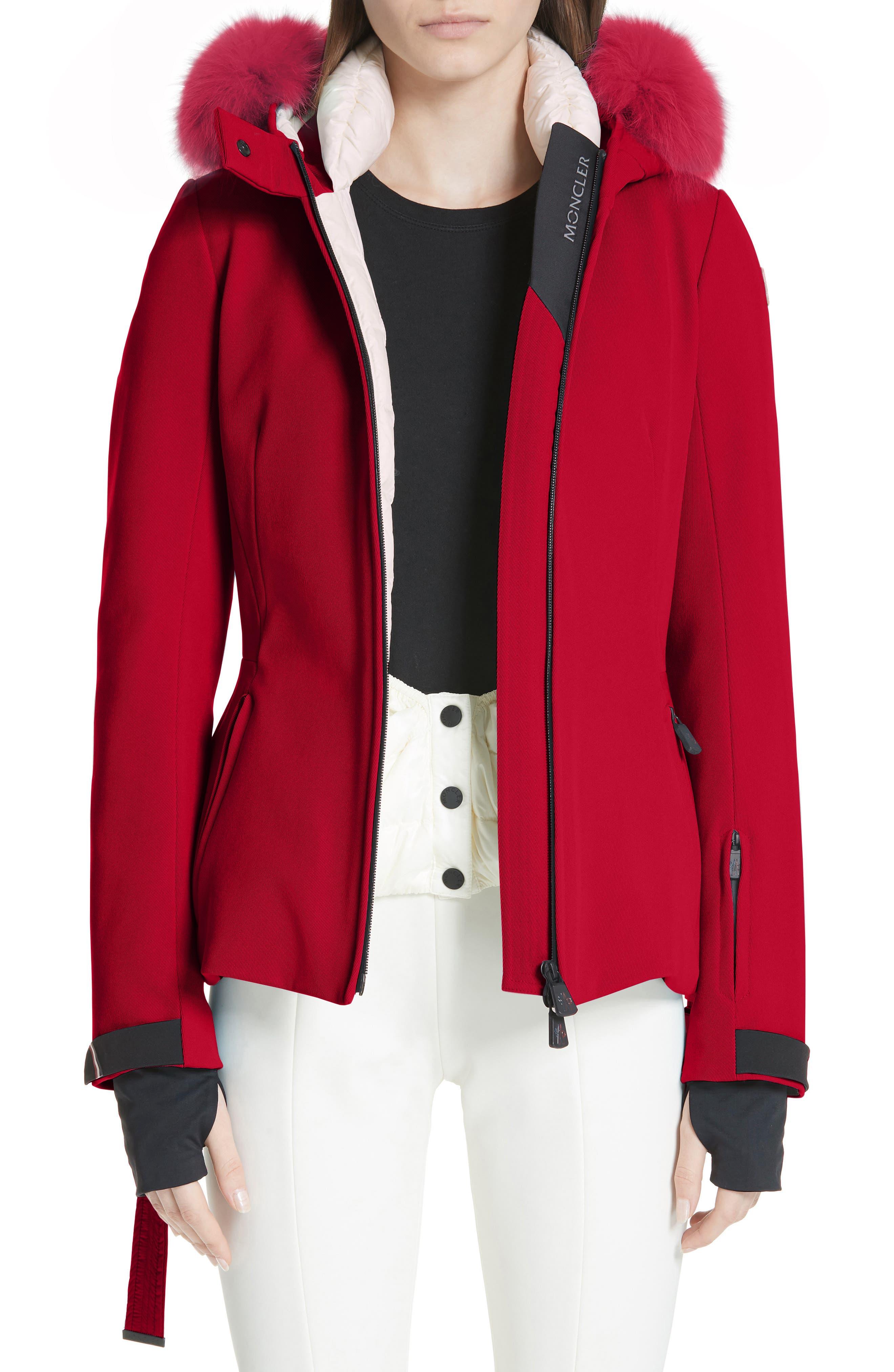 MONCLER, Bauges Water Repellent Hooded Down Coat with Detachable Genuine Fox Fur Trim, Main thumbnail 1, color, RED