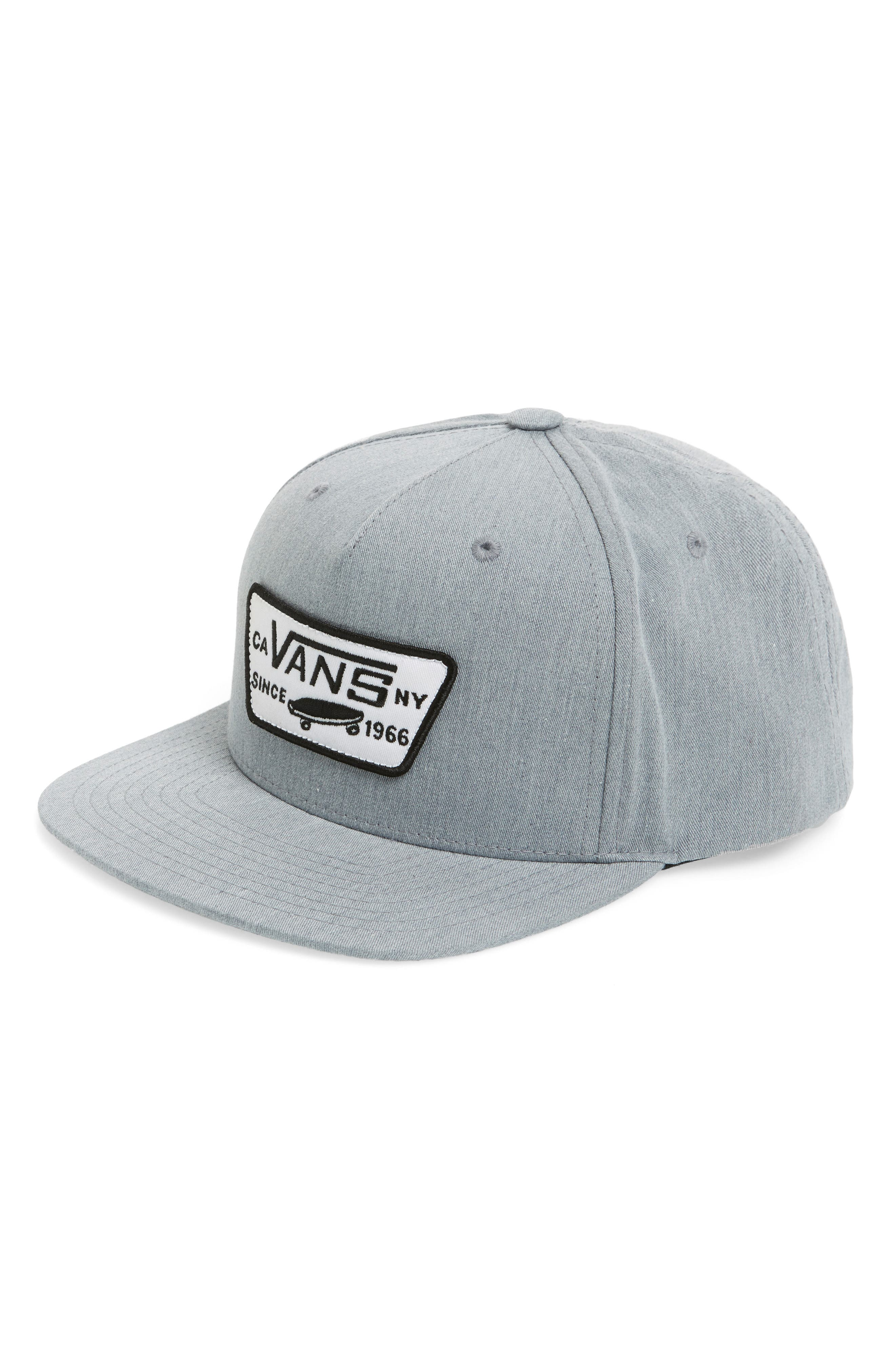 VANS, 'Full Patch' Snapback Hat, Alternate thumbnail 2, color, HEATHER GREY