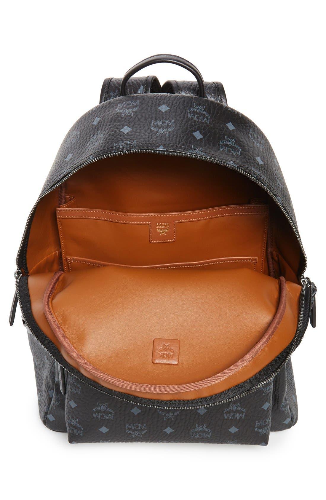 MCM, Medium Stark Visetos Coated Canvas Backpack, Alternate thumbnail 3, color, BLACK