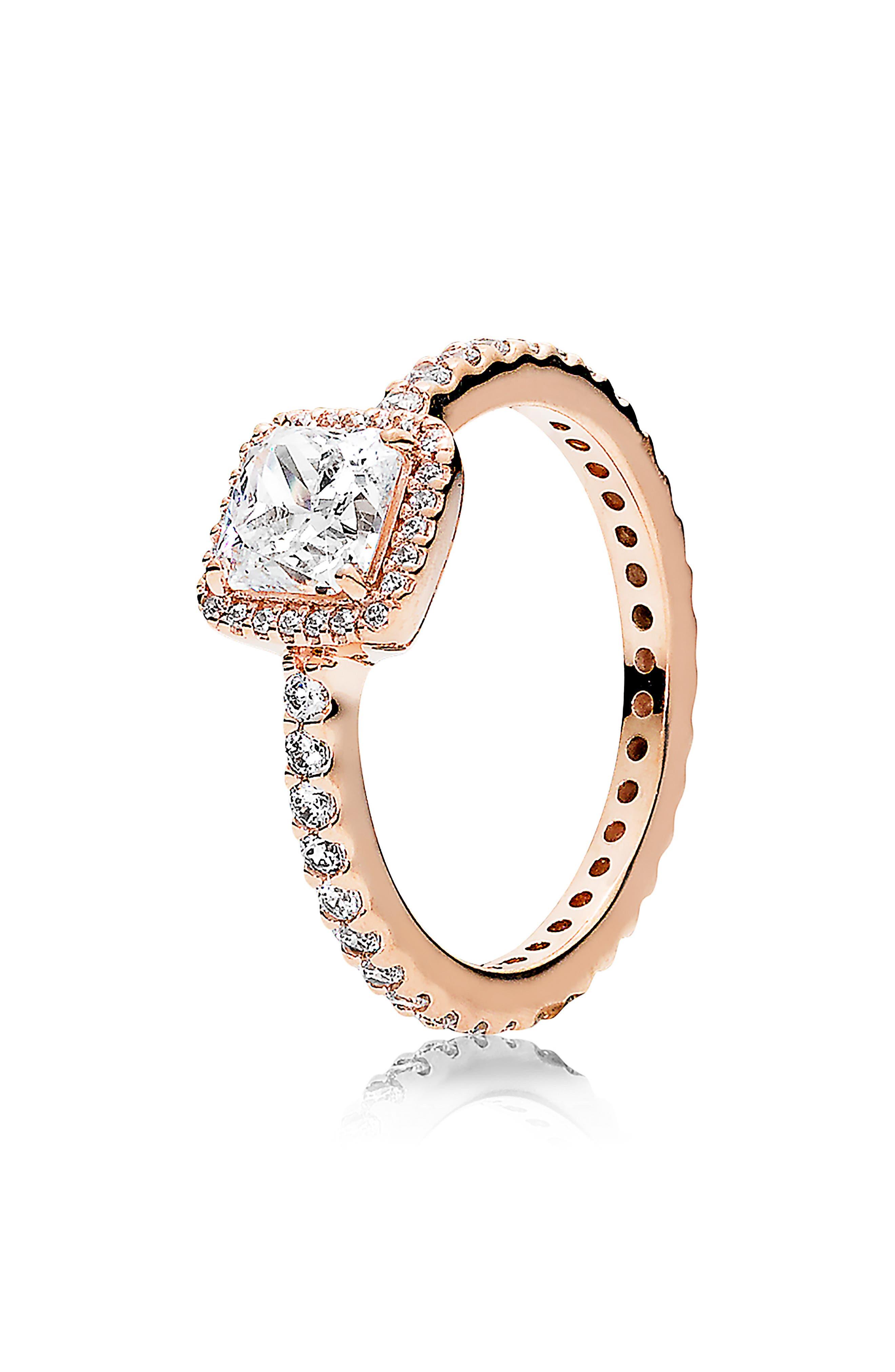 PANDORA, Timeless Elegance Ring, Main thumbnail 1, color, ROSE GOLD