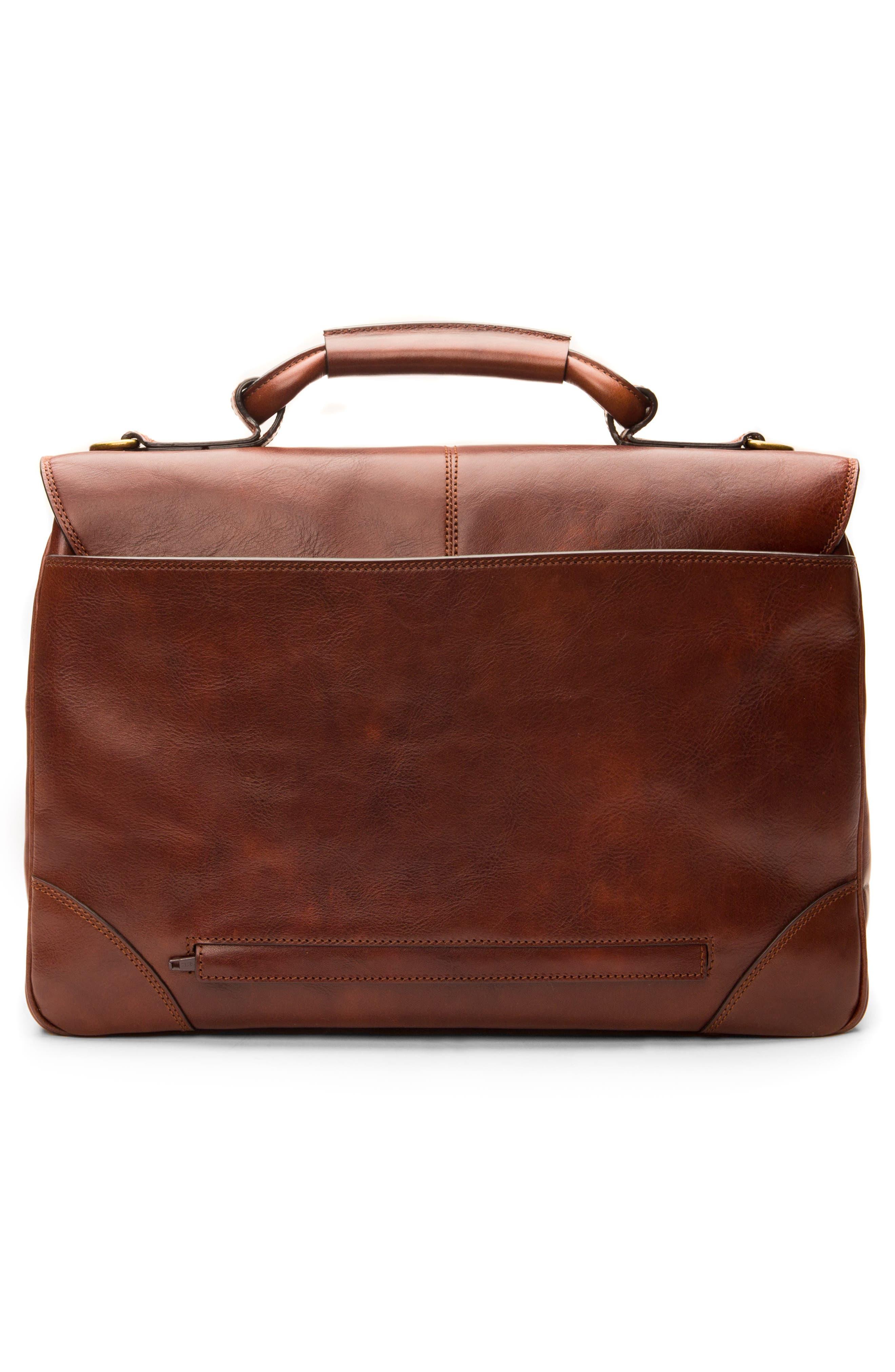 BOSCA, Leather Briefcase, Alternate thumbnail 2, color, DARK BROWN