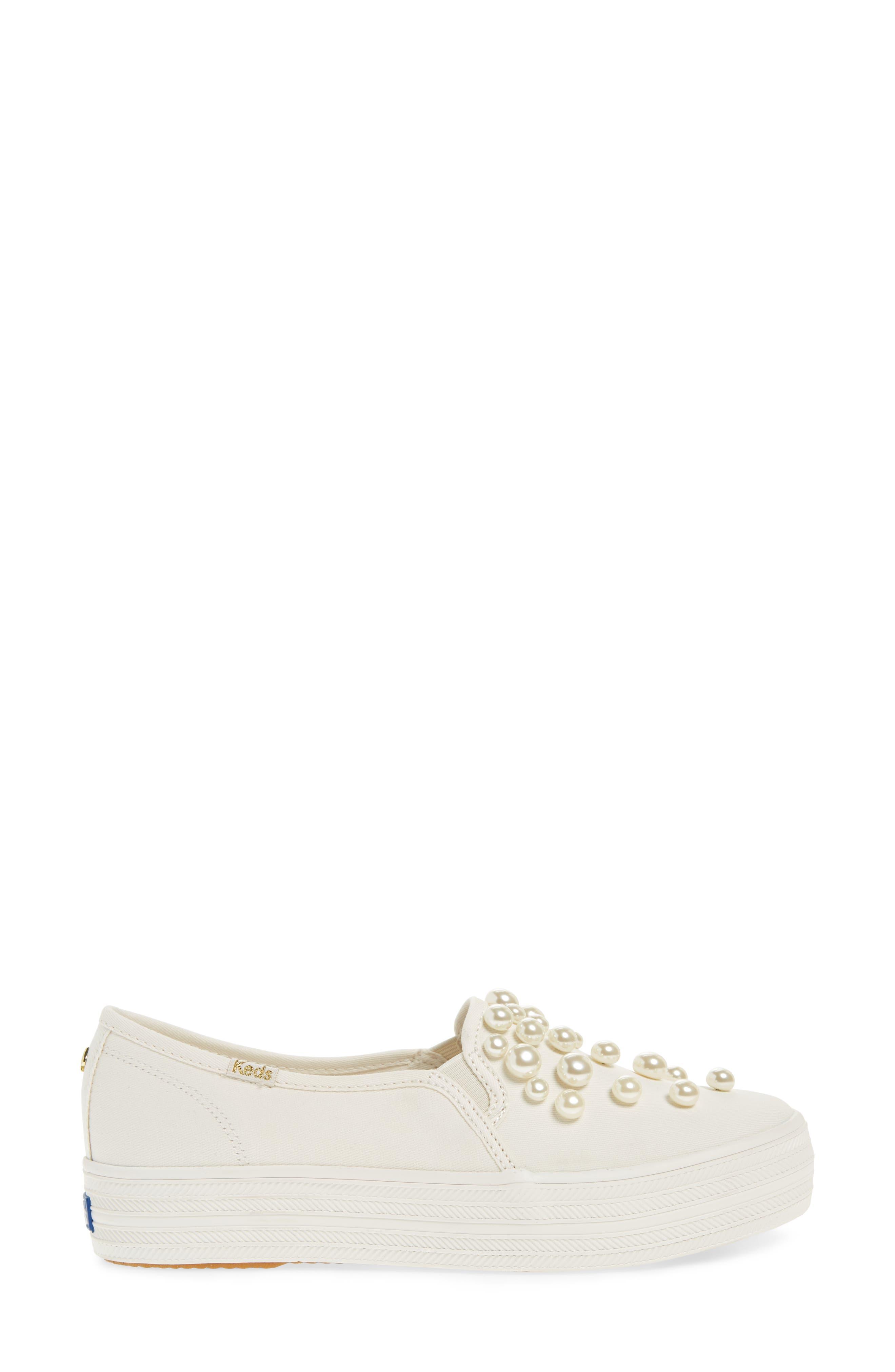 KEDS<SUP>®</SUP> FOR KATE SPADE NEW YORK, triple decker embellished slip-on sneaker, Alternate thumbnail 3, color, CREAM