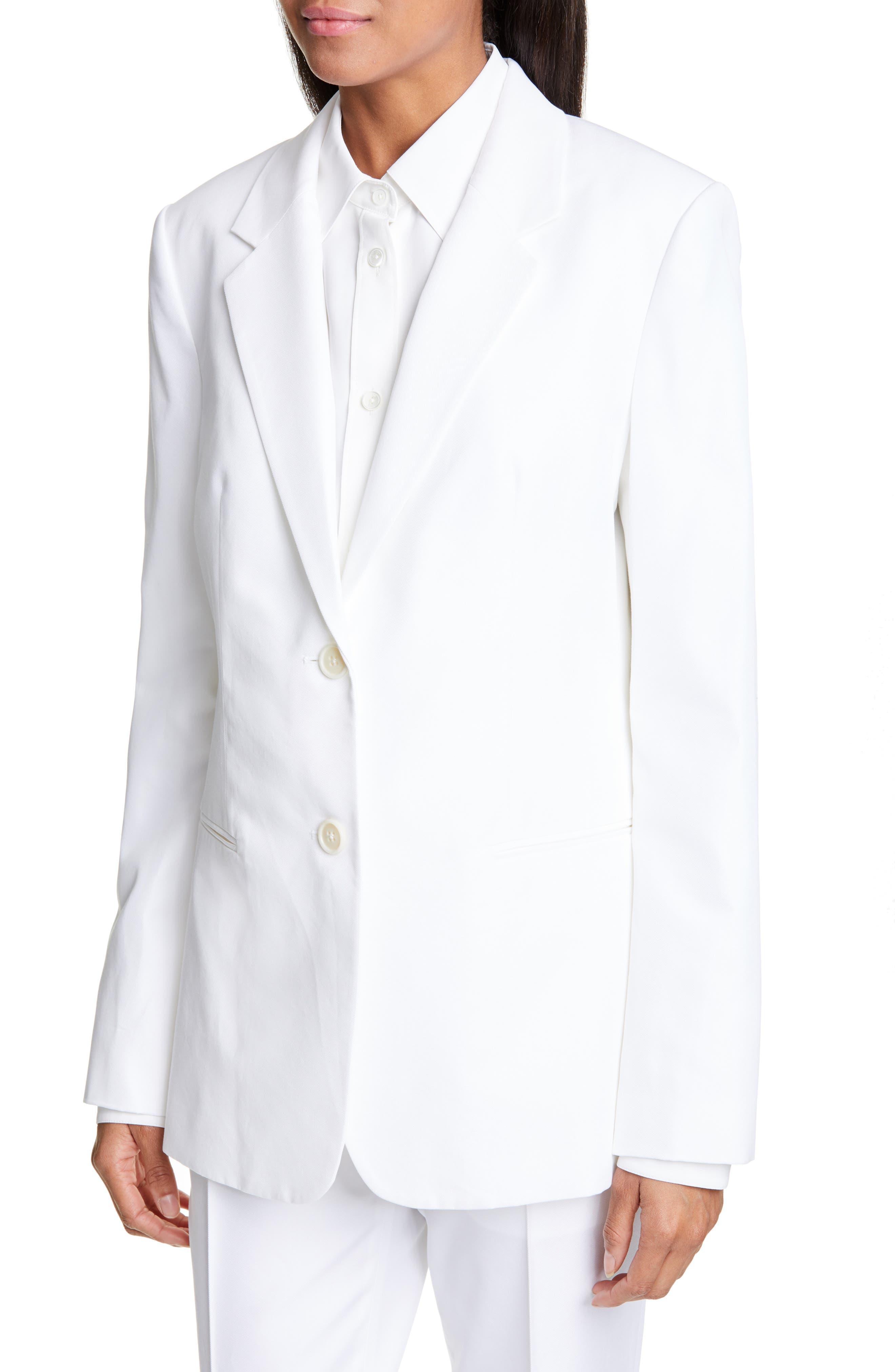 HELMUT LANG, Cotton Blend Blazer, Alternate thumbnail 5, color, WHITE