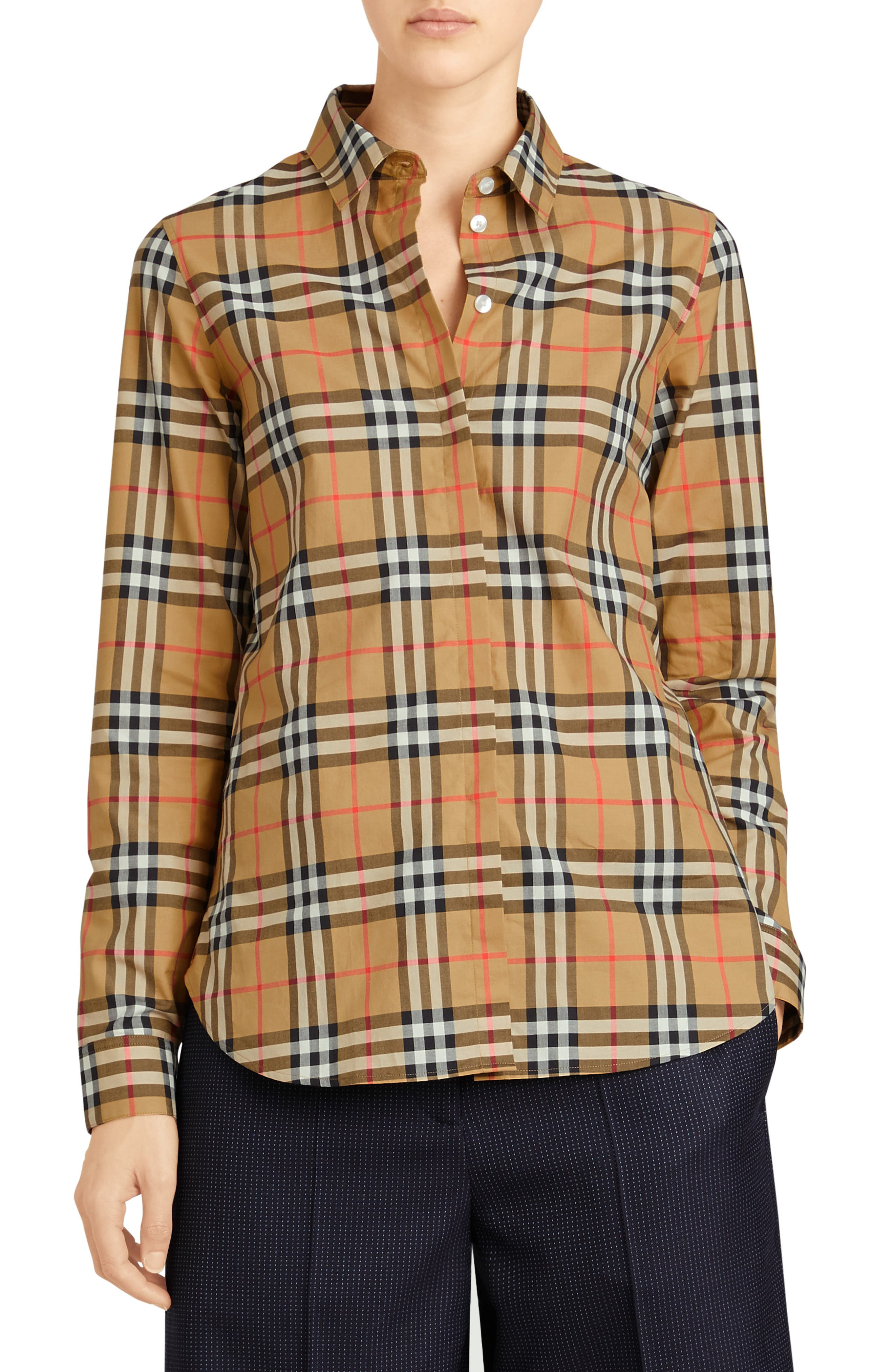 BURBERRY, Crow Vintage Check Shirt, Main thumbnail 1, color, ANTIQUE YELLOW CHECK
