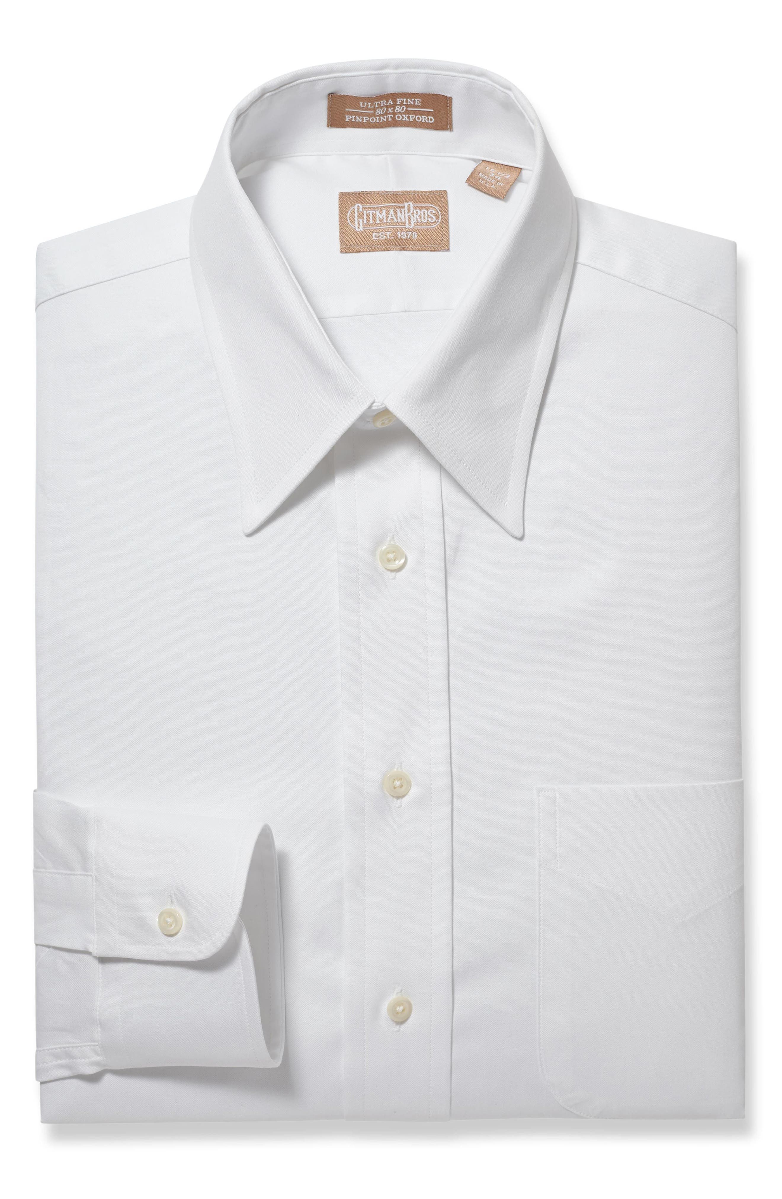 GITMAN, Regular Fit Solid Dress Shirt, Main thumbnail 1, color, WHITE