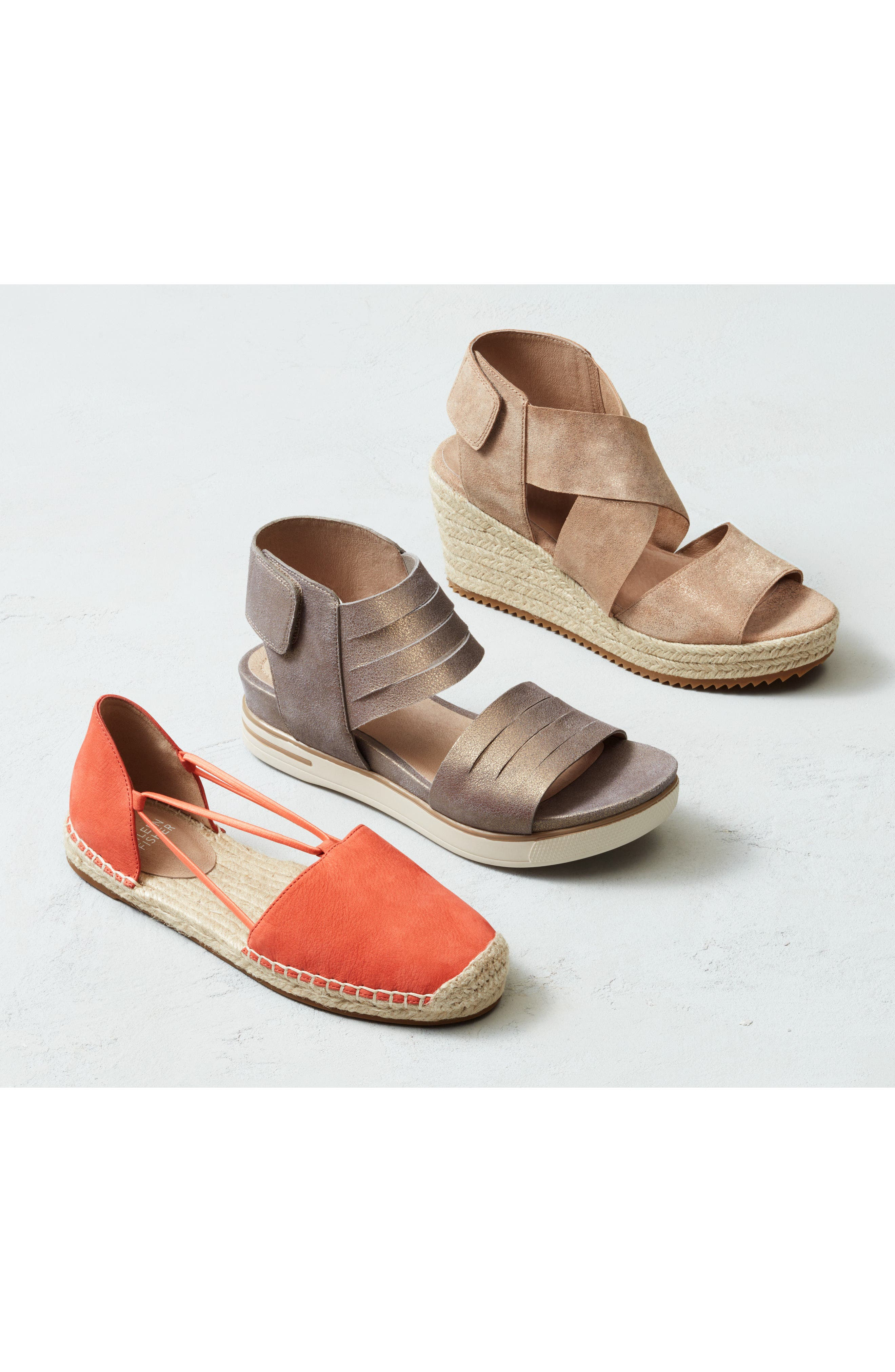 EILEEN FISHER, 'Willow' Espadrille Wedge Sandal, Alternate thumbnail 9, color, BRONZE/ BRONZE LEATHER