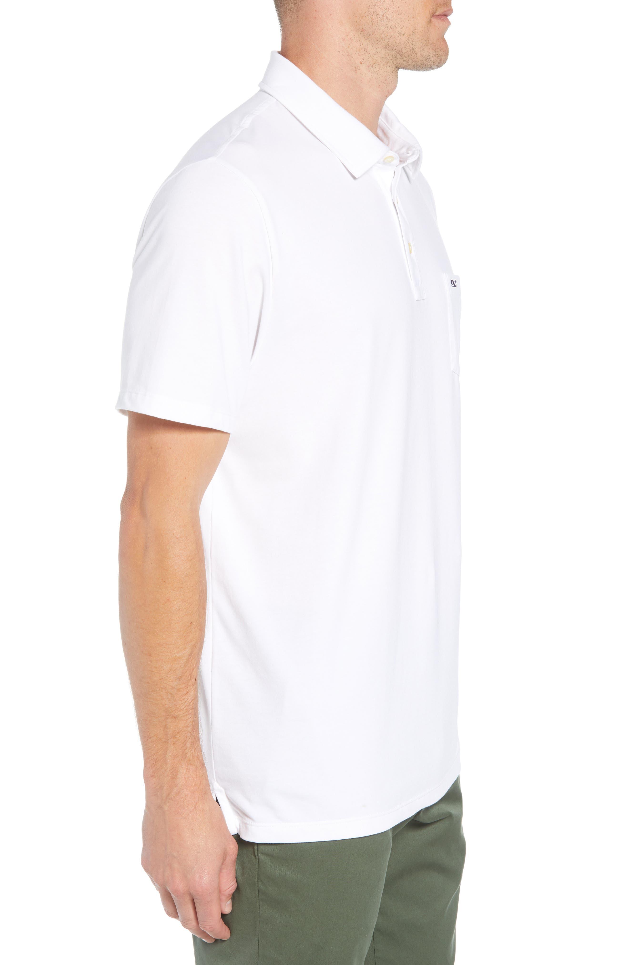 VINEYARD VINES, Edgartown Polo Shirt, Alternate thumbnail 3, color, WHITE CAP