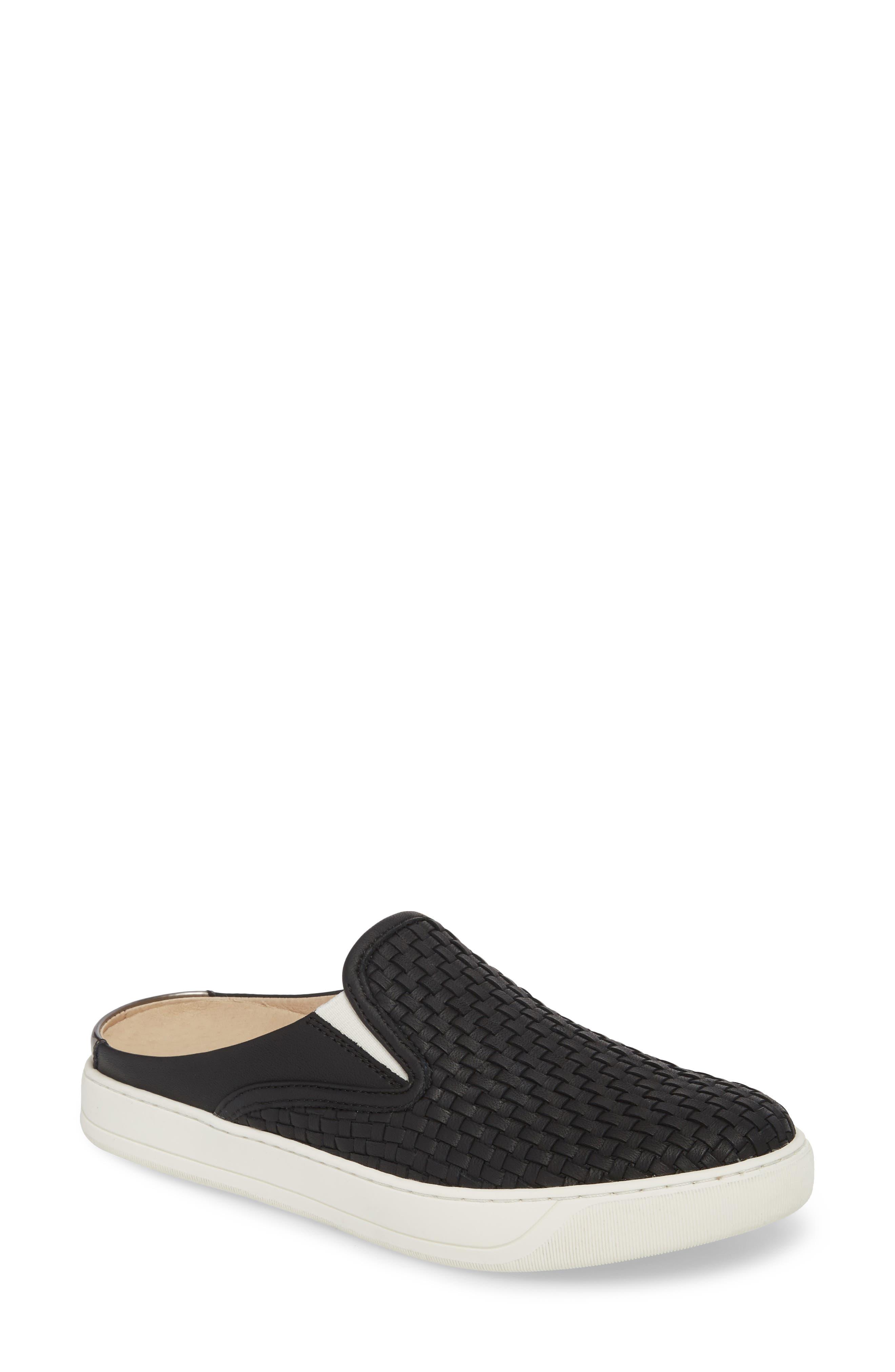 JOHNSTON & MURPHY, Evie Slip-On Sneaker, Main thumbnail 1, color, BLACK LEATHER